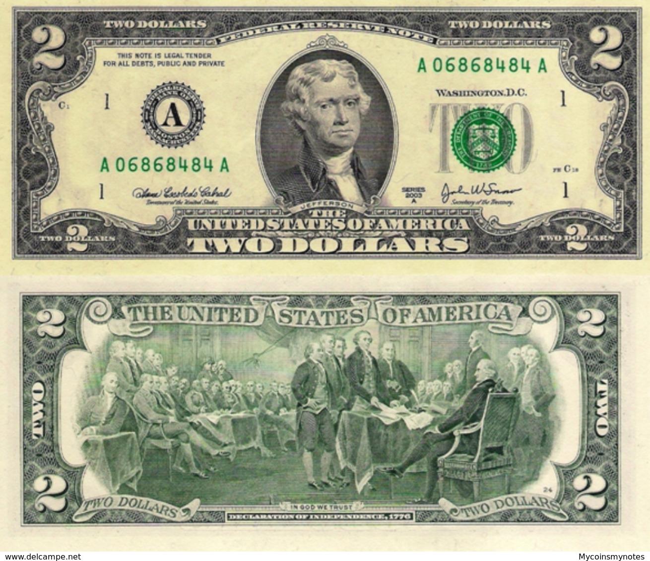 USA, 2 Dollars Commemorative, Reserve Bank Of Boston (A), P516b, 2003, UNC - Verenigde Staten
