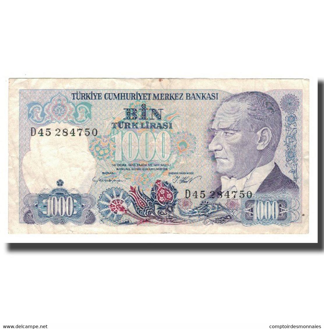 Billet, Turquie, 1000 Lira, L.1970, Undated (1986), KM:196, TTB+ - Turchia