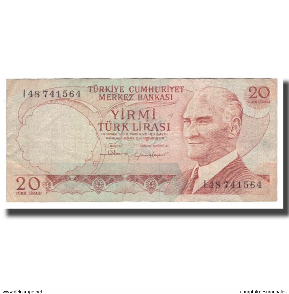 Billet, Turquie, 20 Lira, L.1970 (1974), KM:187b, TTB - Türkei