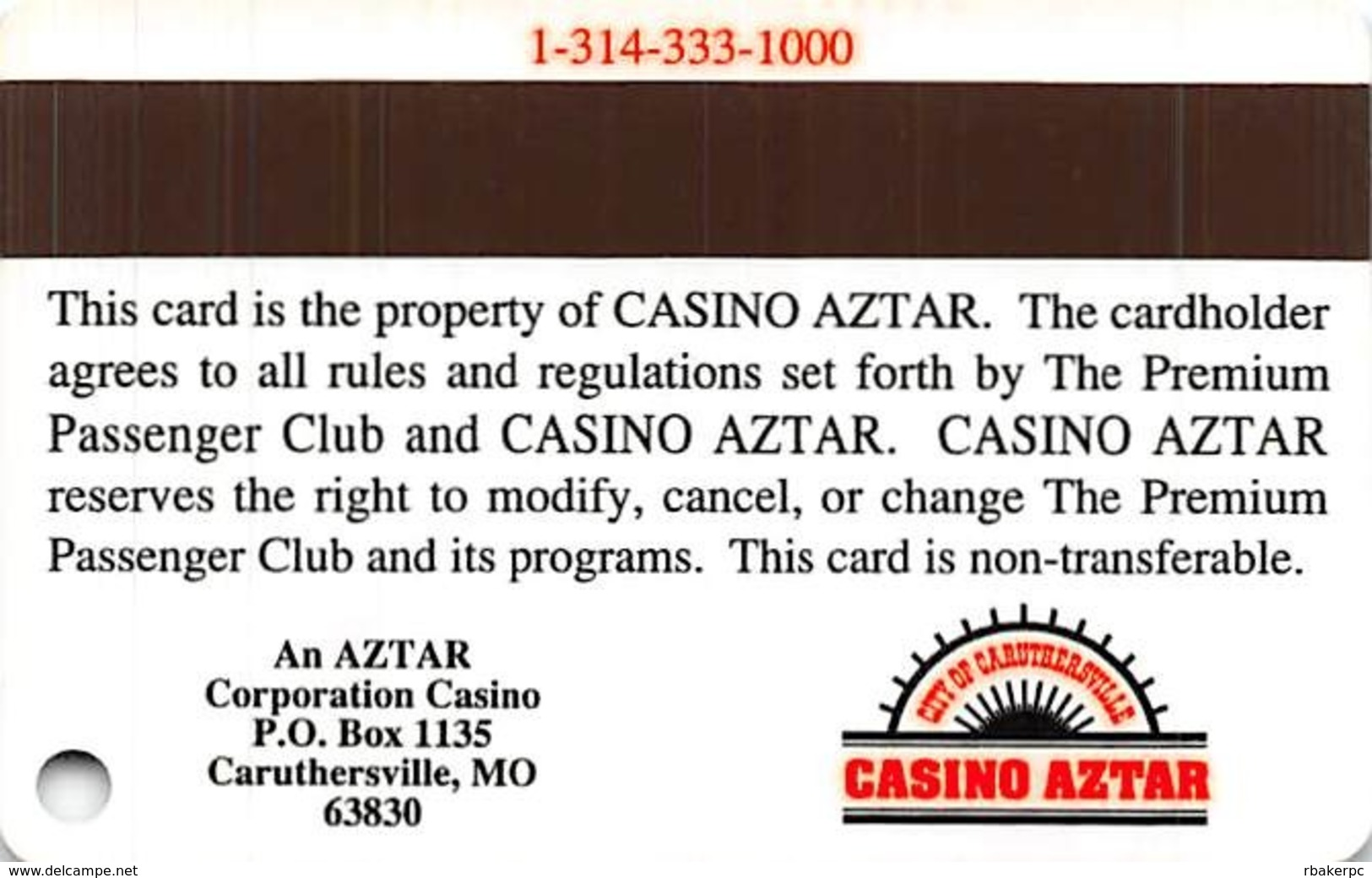 Casino Aztar Caruthersville, MO - BLANK Slot Card - Casino Cards