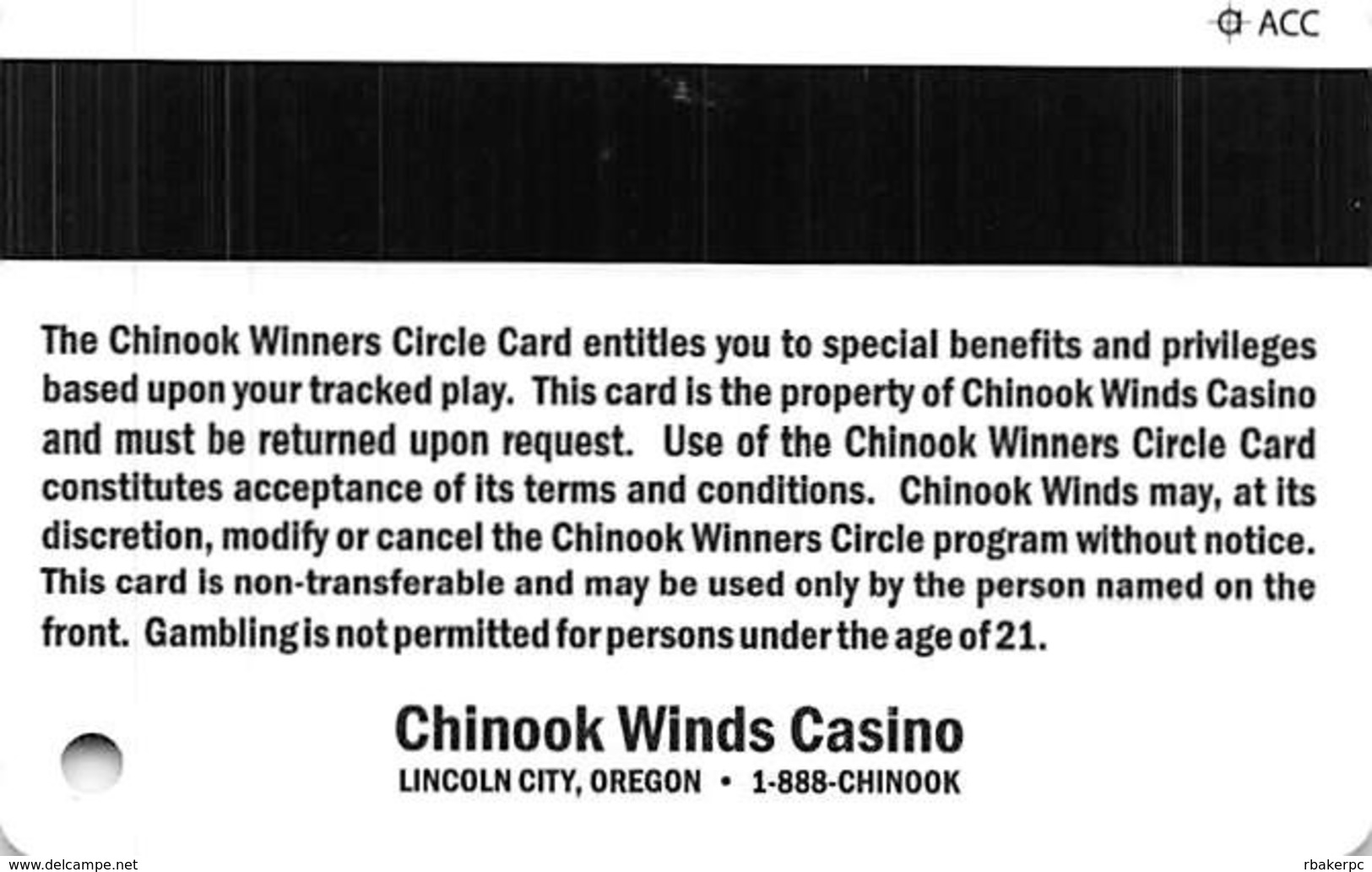 Chinook Winds Casino Lincoln City, OR - Slot Card With ACC Over Mag Stripe - Cartes De Casino