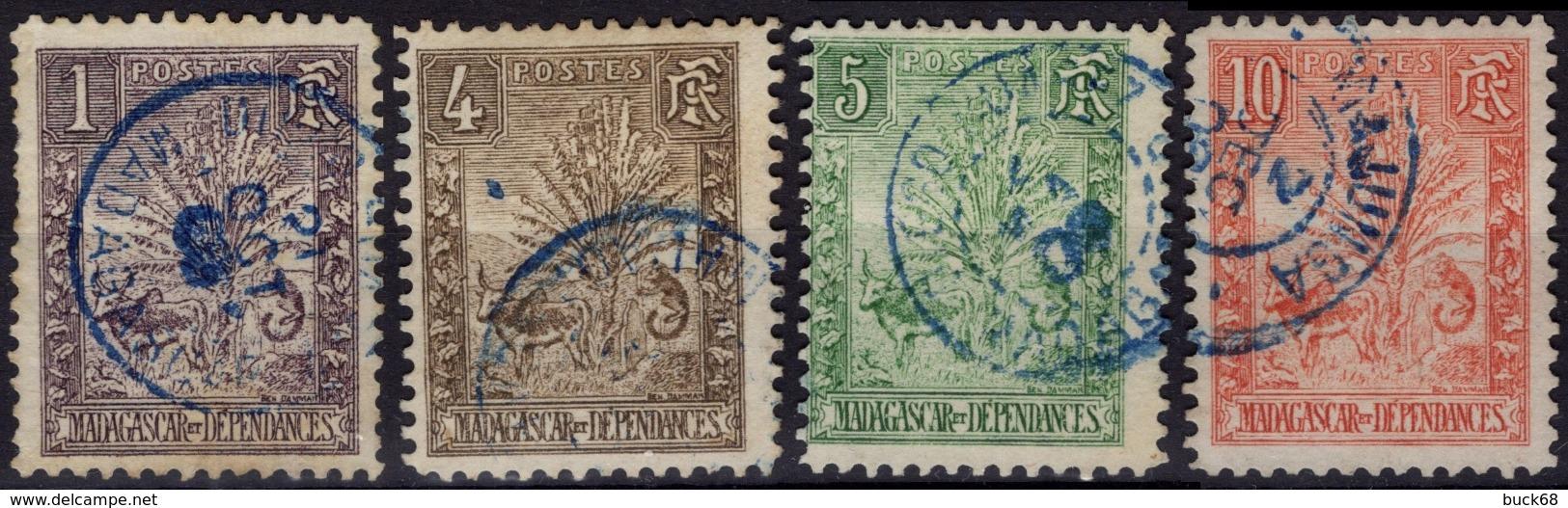 MADAGASCAR  63 65 66 67 (o) Zébu Et Arbre Du Voyageur Ravenala - Madagascar (1889-1960)