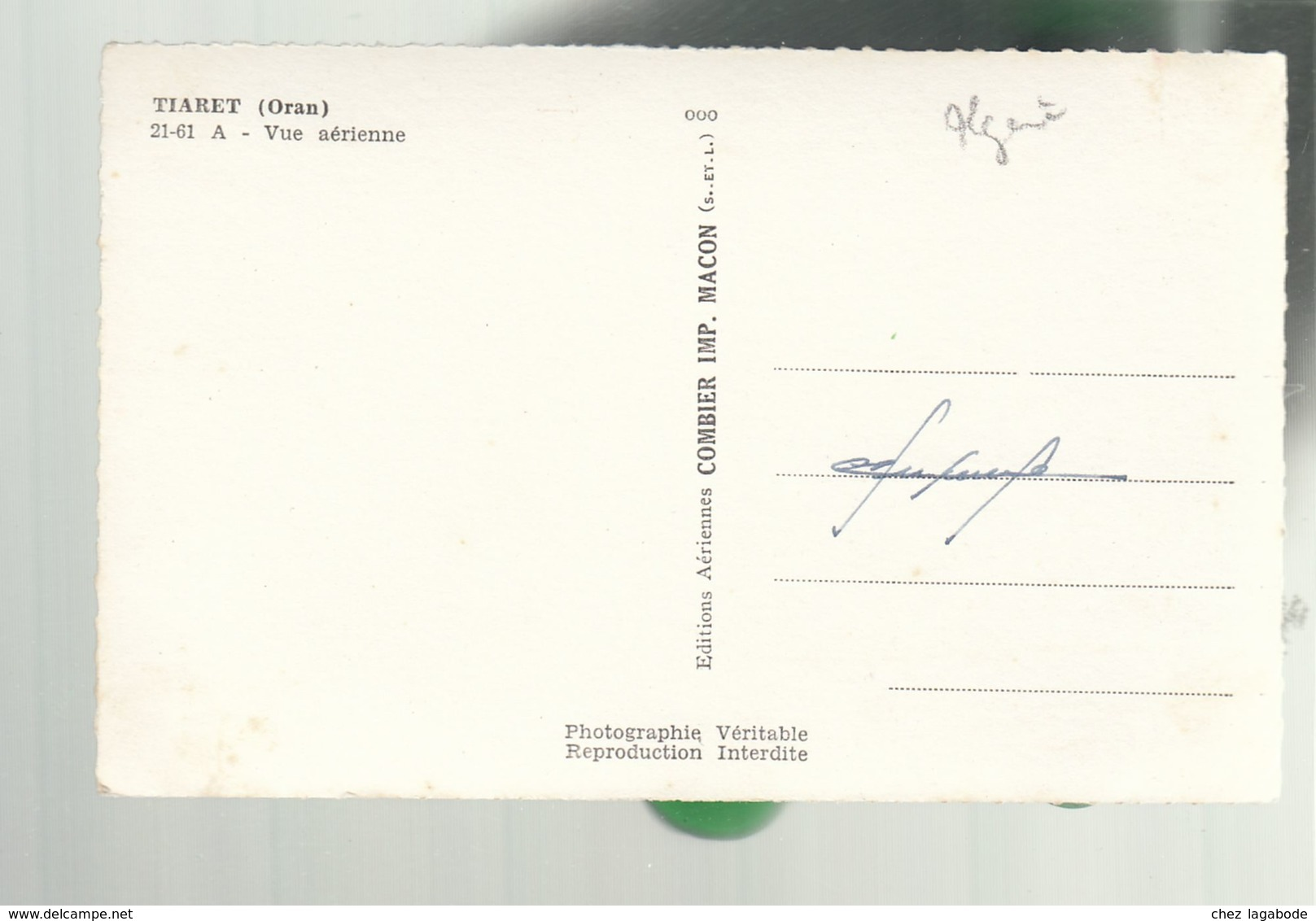 CP (Alg.) Tiaret (Oran) - Vue Aérienne - Oran