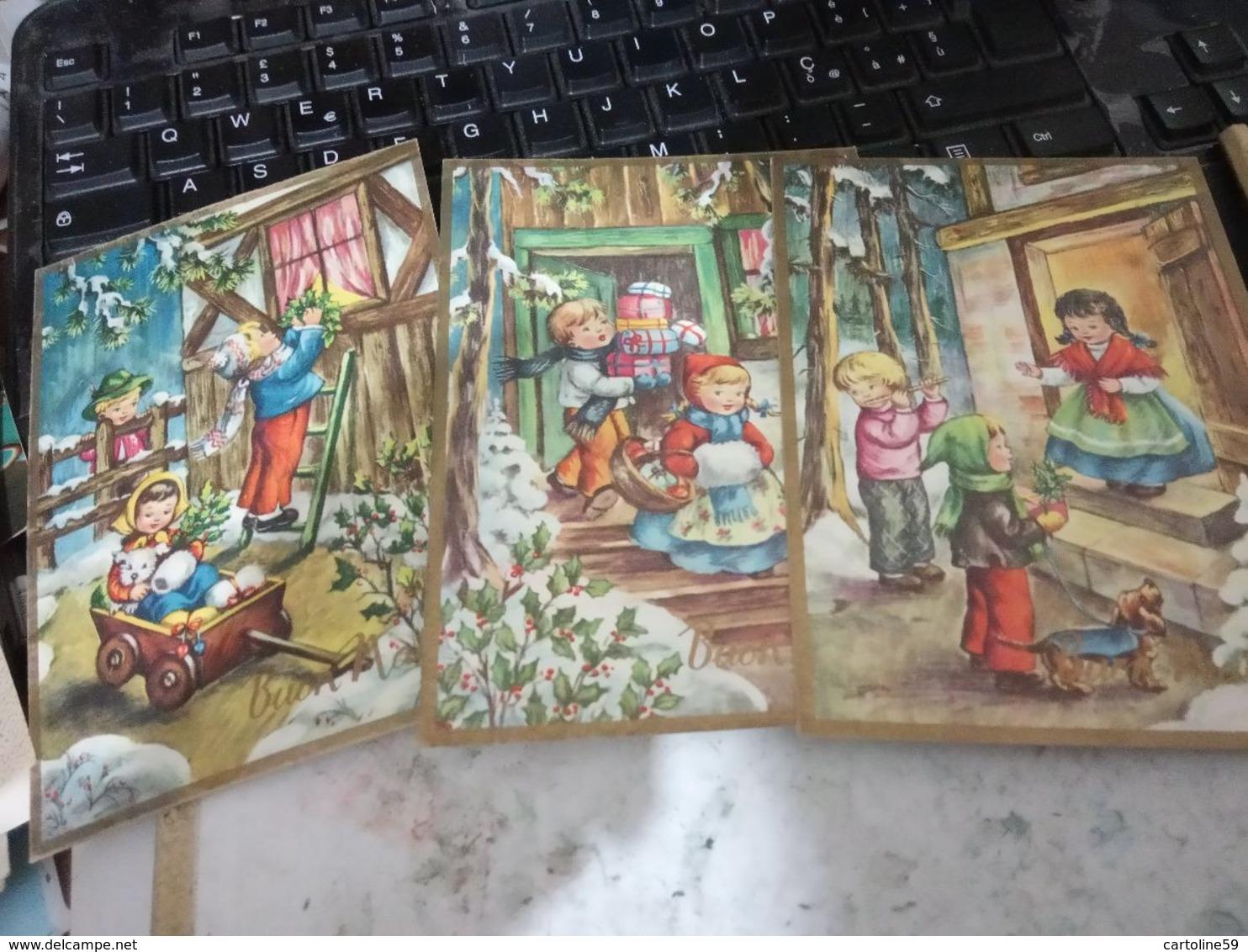 3 CARD BUON NATALE  ILLUSTRATA BAMBINI N1965 HG1617 - Natale