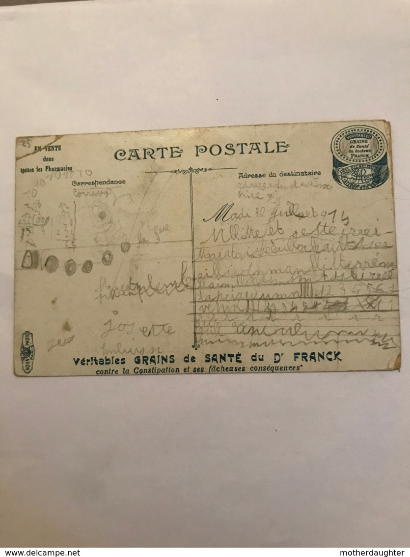 CPA CIRCULEE EN 1914 - VERITABLES GRAINS DE SANTE DU DR FRANCK - UN DIRIGEABLE MILITAIRE - Publicité