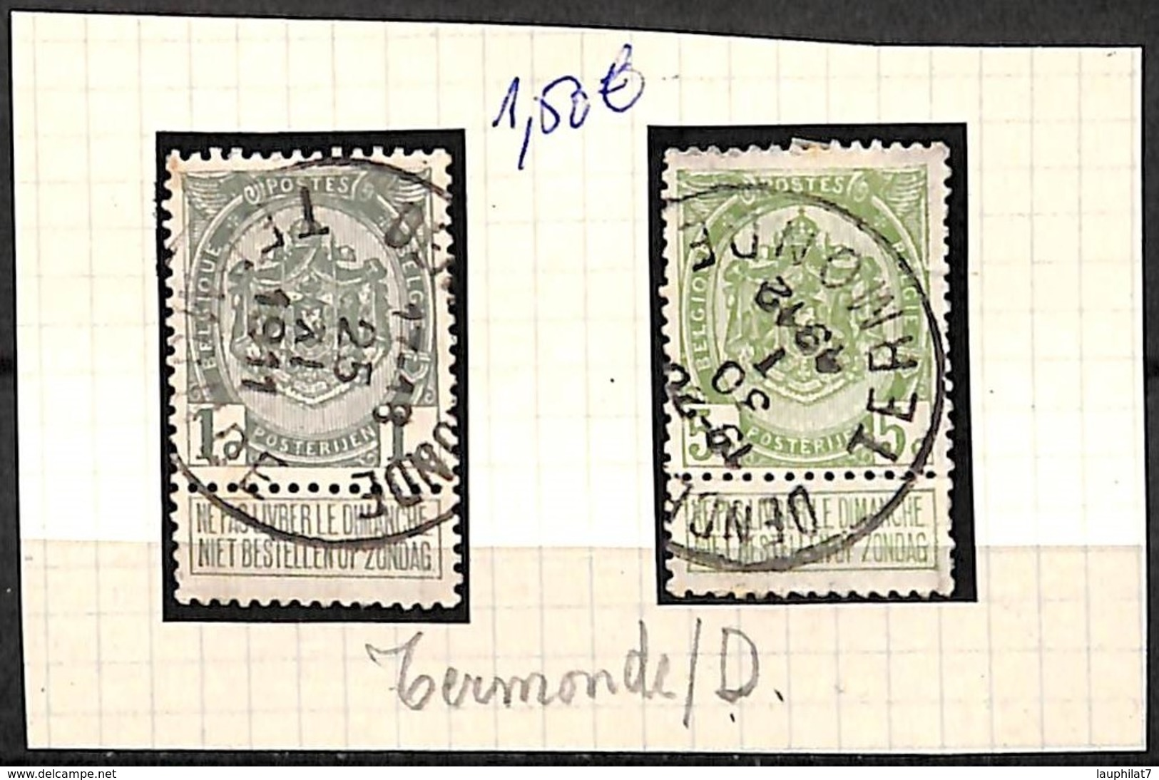[832306]B/TB//O/Used-Belgique 1907 - N° 81 Et 83, TERMONDE / D, Armoiries - 1893-1907 Wappen