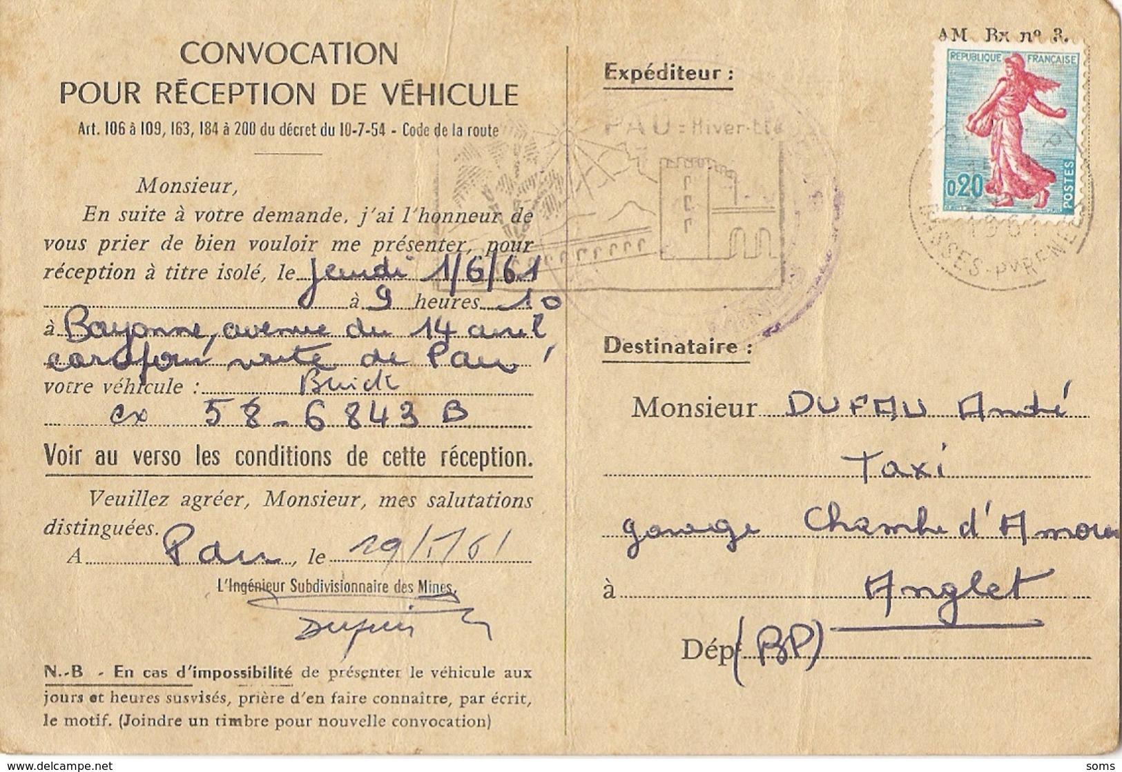 Carte Postale Professionnelle, Convocation Pour Réception D'une Buick, 1961, Bayonne, Futur Taxi De Pau - Voitures De Tourisme