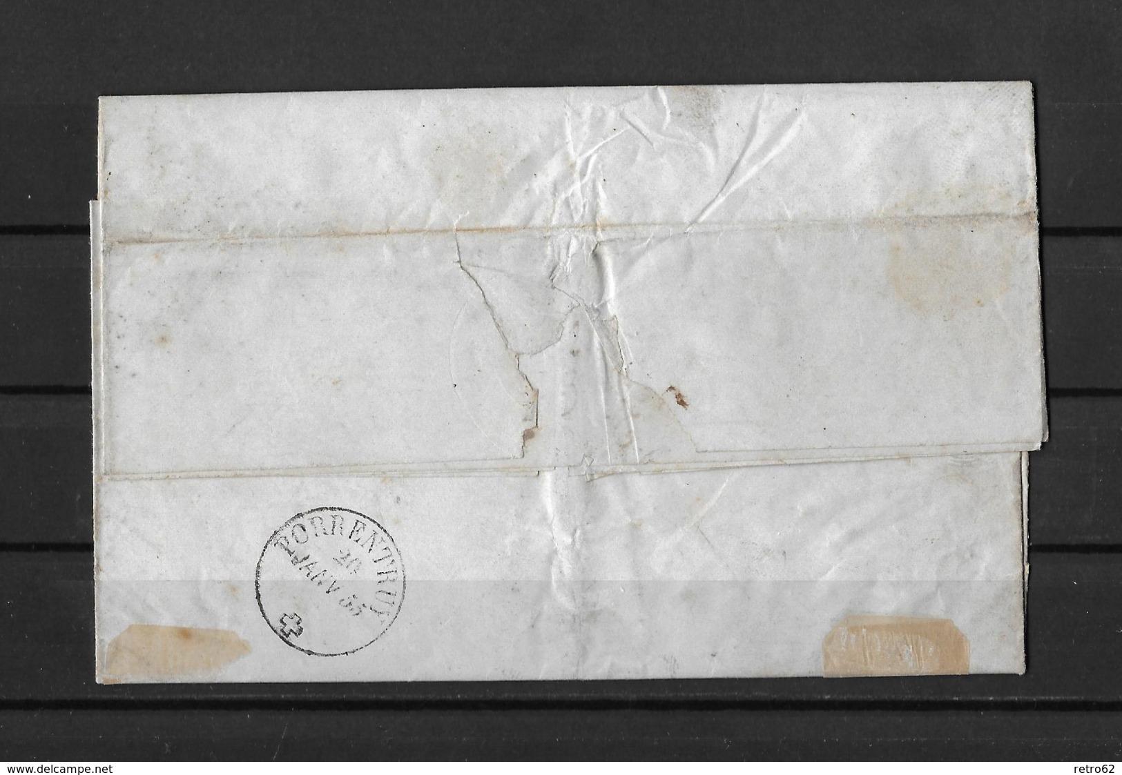 1854-1862 Helvetia (ungezähnt) → 1854 Faltbrief Laufen Nach Porrentruy    ►SBK-22A1 /zwei Einzelmarken ►Attest Renggli◄ - 1854-1862 Helvetia (Non-dentelés)