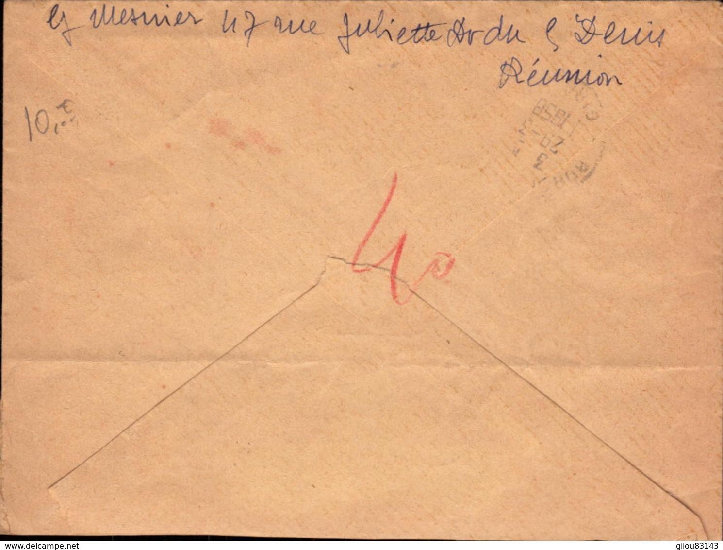 Lettre De La Reunion Pour La France, Recommandé Saint Denis, Bande De 3 Timbres CFA     (bon Etat) - Other