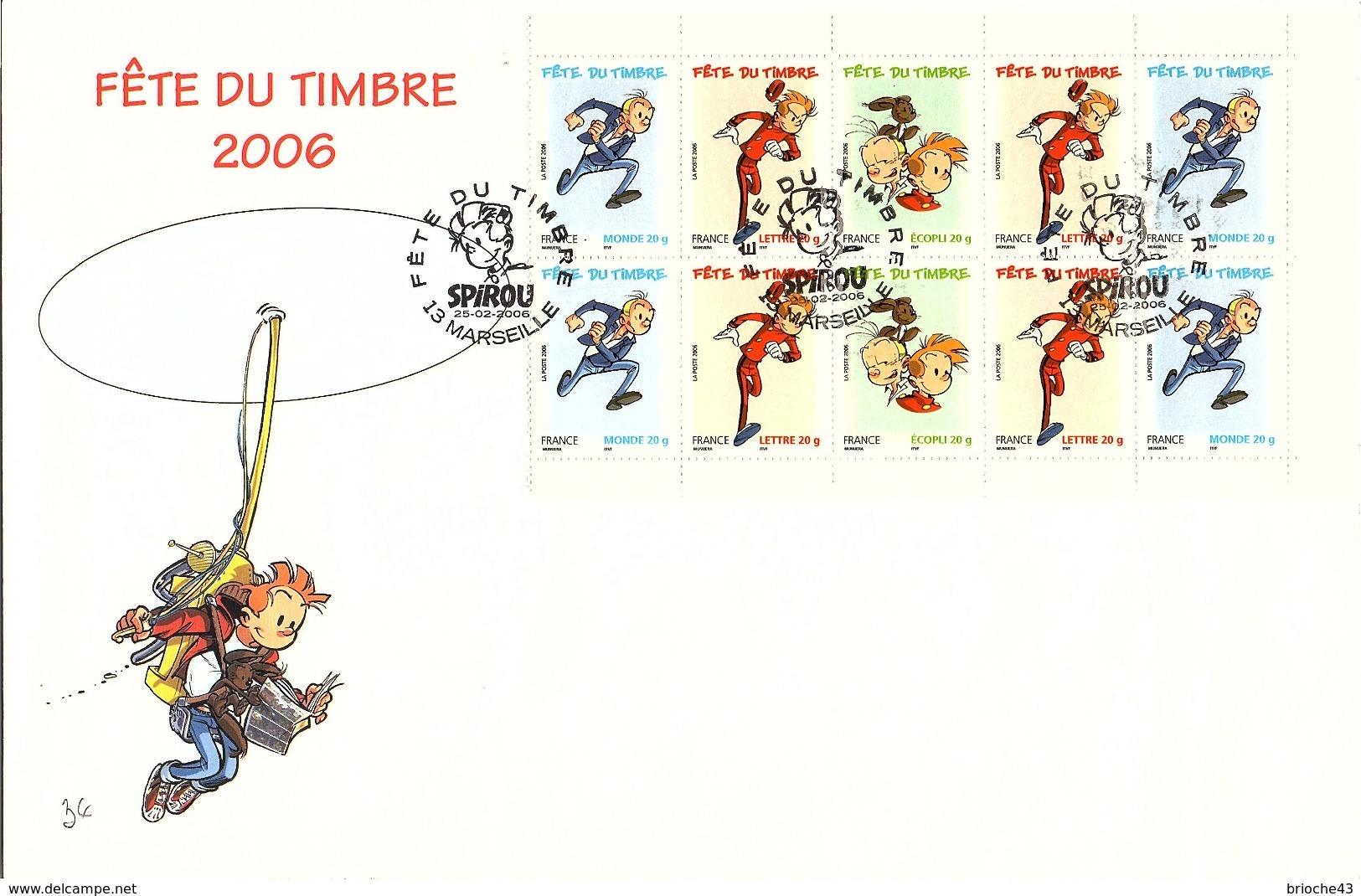 FRANCE - ENVELOPPE GRAND FORMAT FÊTE DU TIMBRE 2006 - SPIROU   / TBS - Timbres
