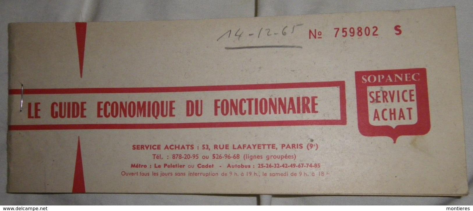 SOPANEC 53 Rue Lafayette Paris 75009 - Le Guide économique Du Fonctionnaire - 1965 - Francia