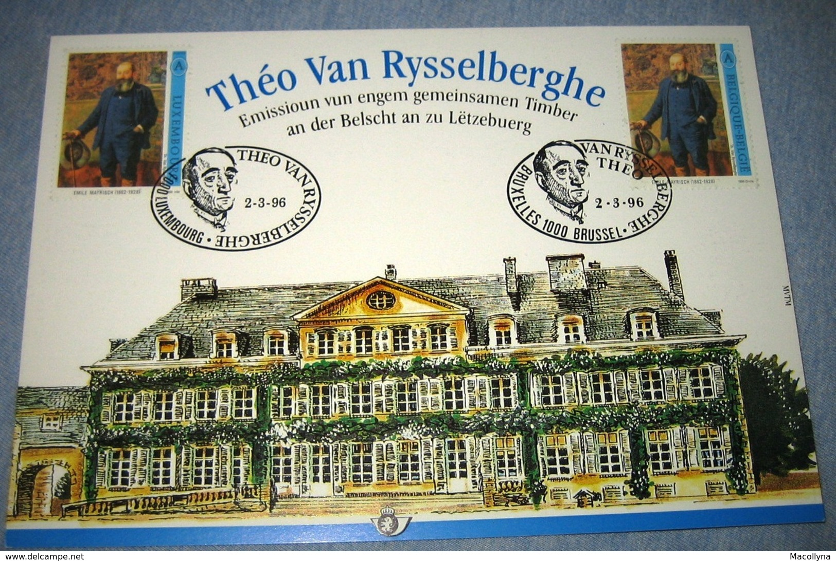 Herdenkingskaart - Carte-souvenir Rysselberghe 2627(o) Cote 8,5€ België 1995 - Souvenir Cards