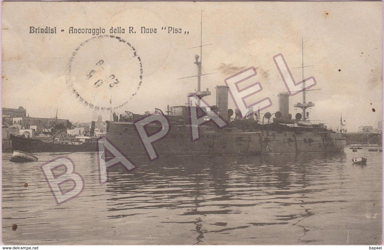 Brindisi (Italie) - Ancrage Du ''Pisa'' (Circulé En 1916) - Brindisi