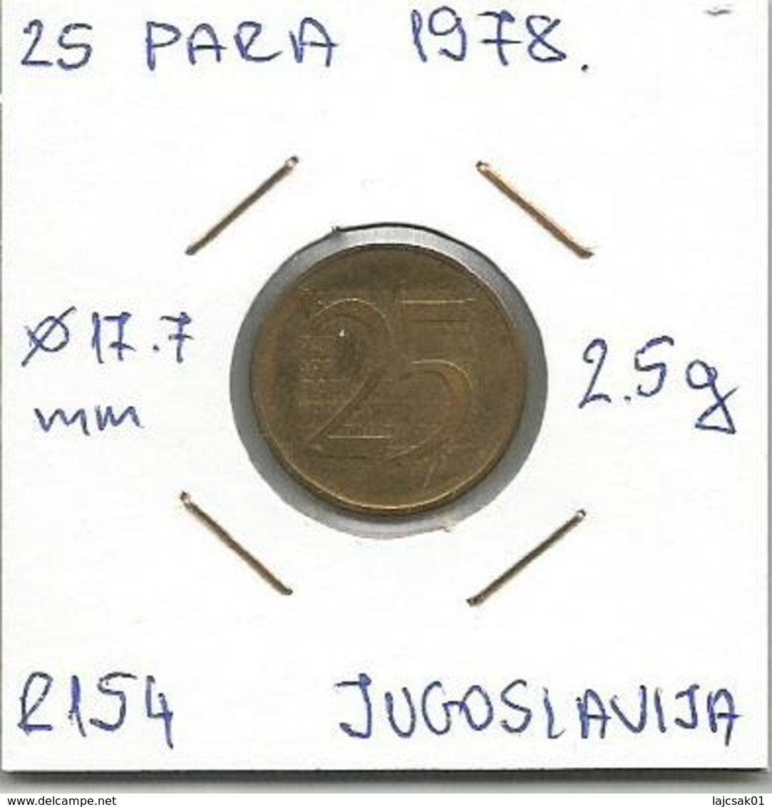 Yugoslavia 25 Para 1978. R154 Trial Strike RRR - Joegoslavië