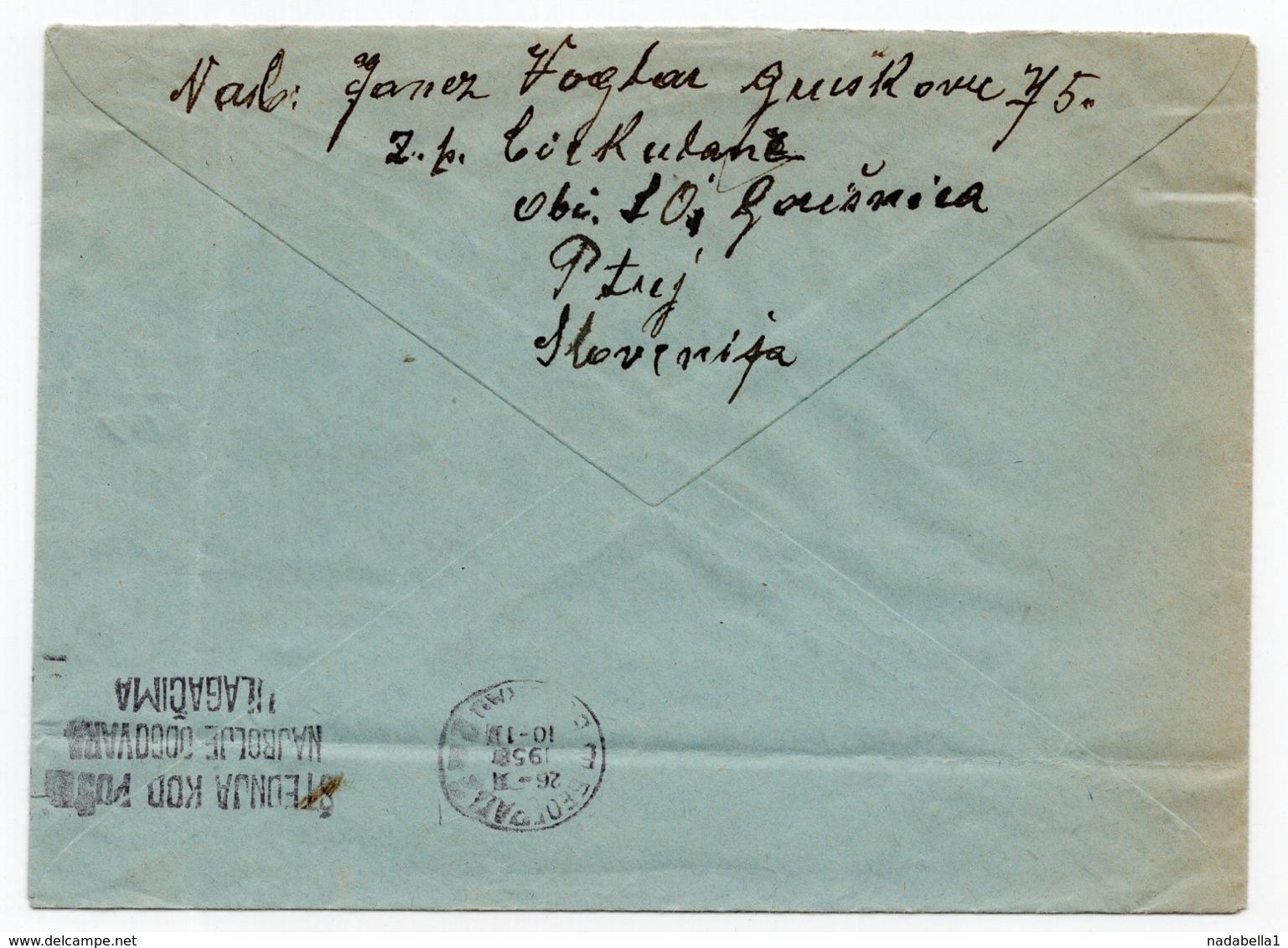 1956 YUGOSLAVIA, SLOVENIA, CIRKULANE TO BELGRADE - 1945-1992 Socialistische Federale Republiek Joegoslavië