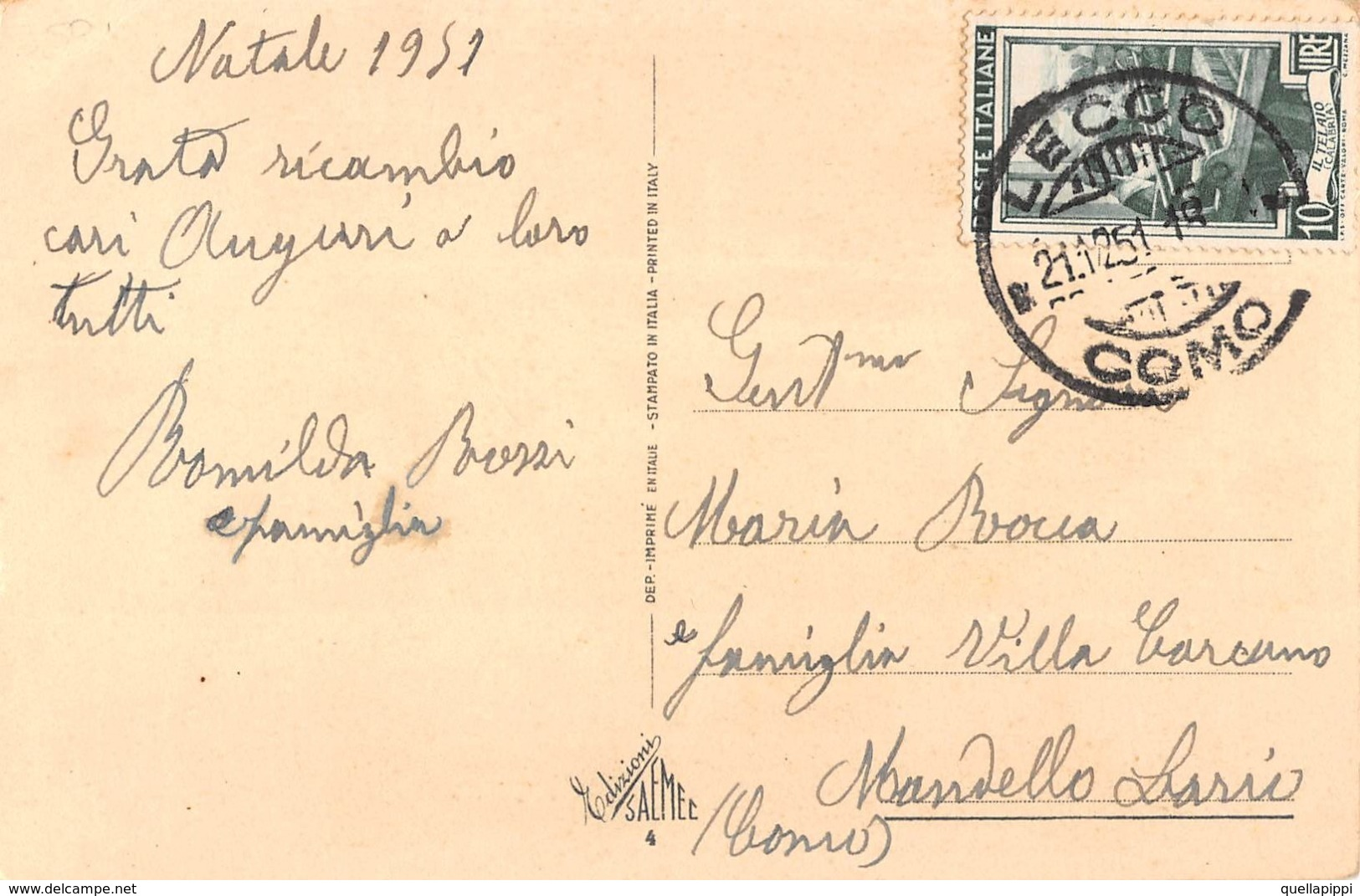 "09690 ""BUON NATALE"" BAMBINA, UCCELLINI. CART SPED 1959 - Altri"