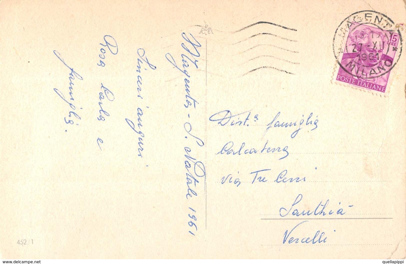 """09691 """"BUON NATALE"""" BAMBINI, INCONTRO, CERBIATTO, MUSCHIO. CART SPED 1961 - Natale"""
