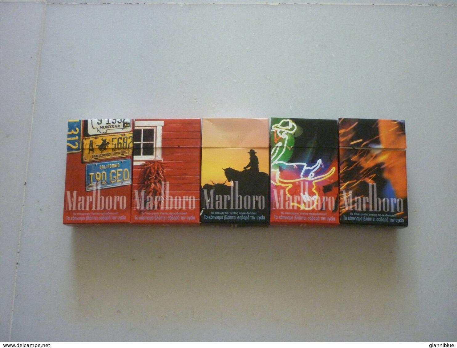 5 Greece Greek Marlboro Rare Used Opened Empty Vintage Collectible Packets - Cajas Para Tabaco (vacios)