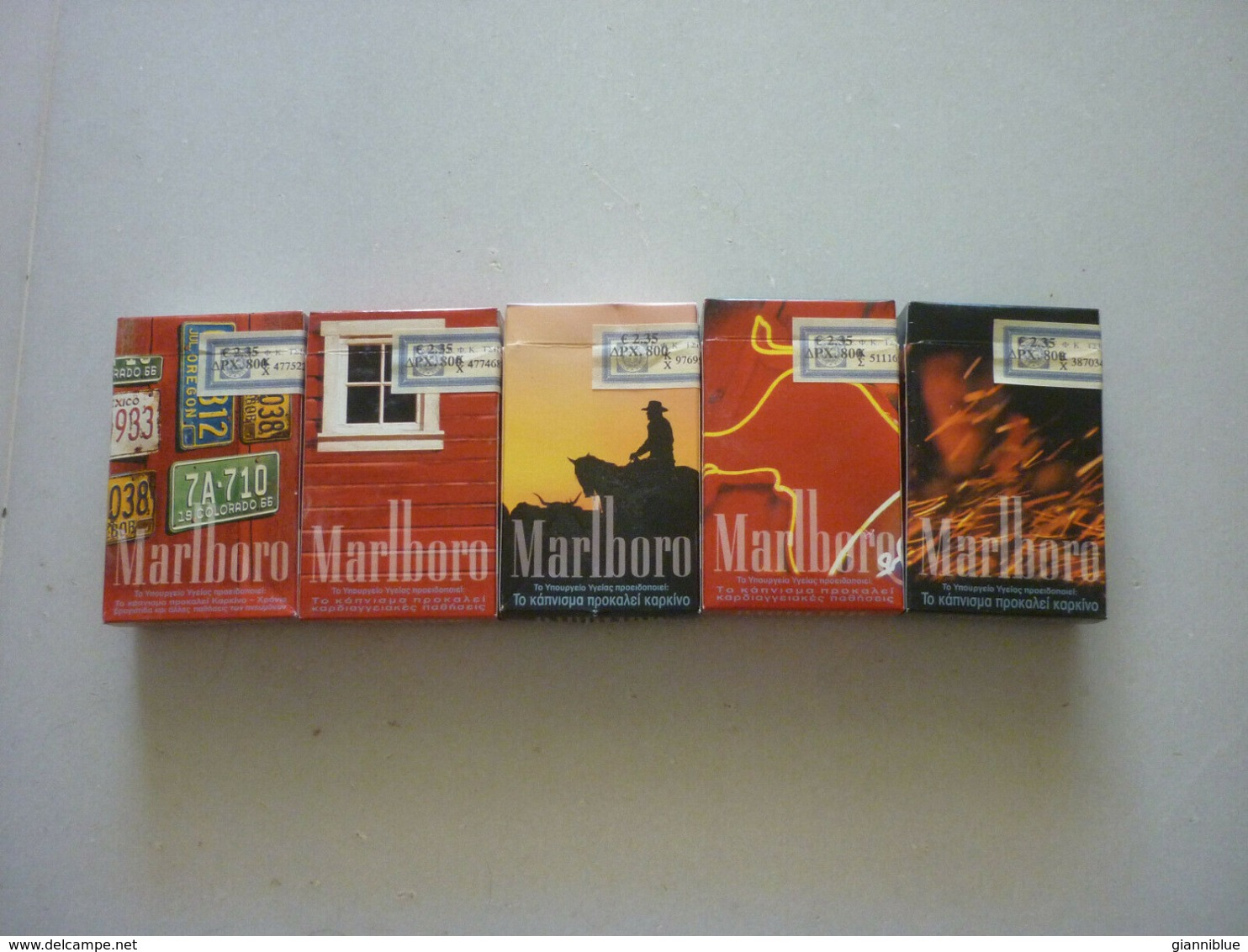 5 Greece Greek Marlboro Rare Used Opened Empty Vintage Collectible Packets - Contenitori Di Tabacco (vuoti)