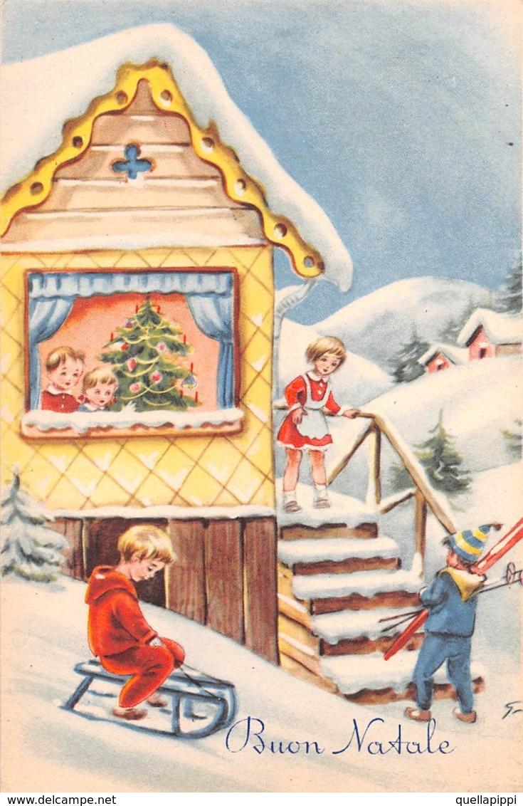 """09711 """"BUON NATALE"""" BAMBINI, SLITTINO, SCI, ALBERO NATALE.  CART NON SPED - Natale"""