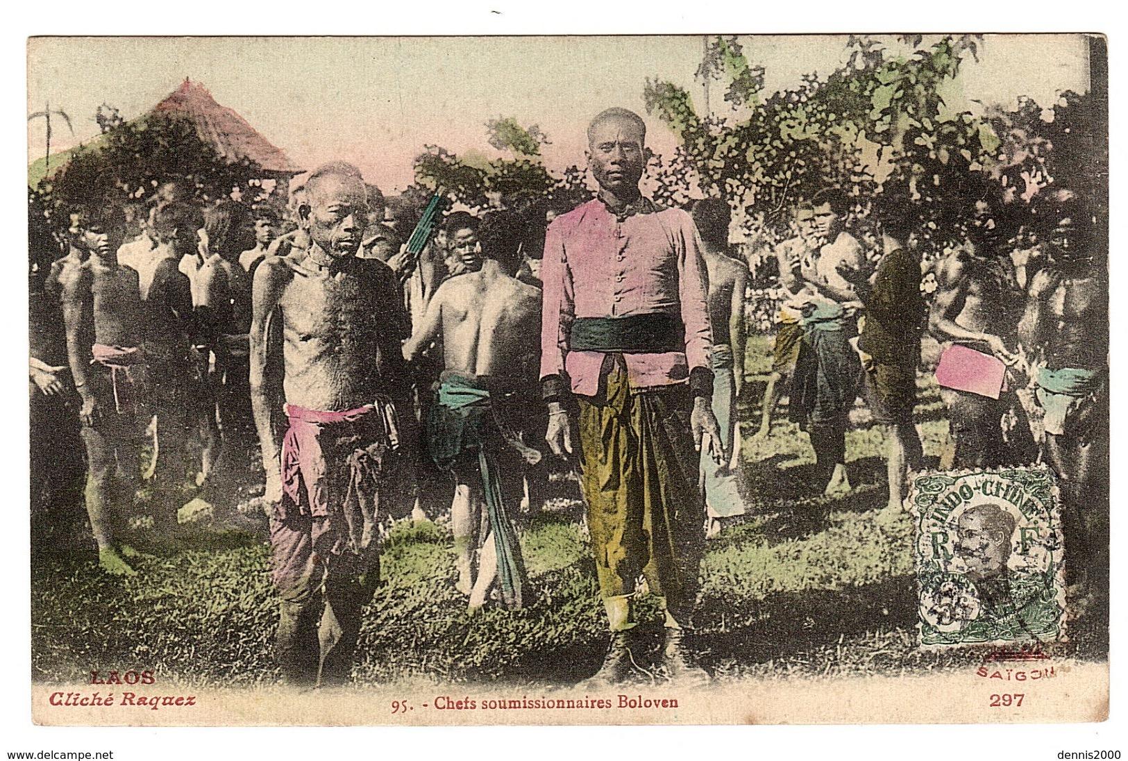 LAOS - Chefs Soumissionnaires Boloven - Carte Colorisée - Ed. Cliché Raquez - Laos