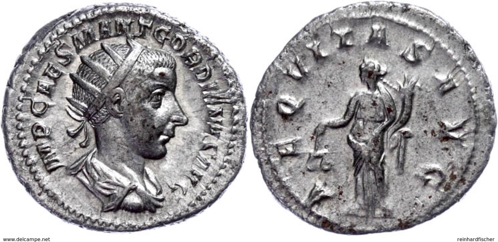 Gordianus III., 238-244, Antoninian (5,13g). Av: Büste Nach Rechts, Darum Umschrift. Rev: Stehende Aequitas Mit Füllhorn - 4. Andere Römische Münzen