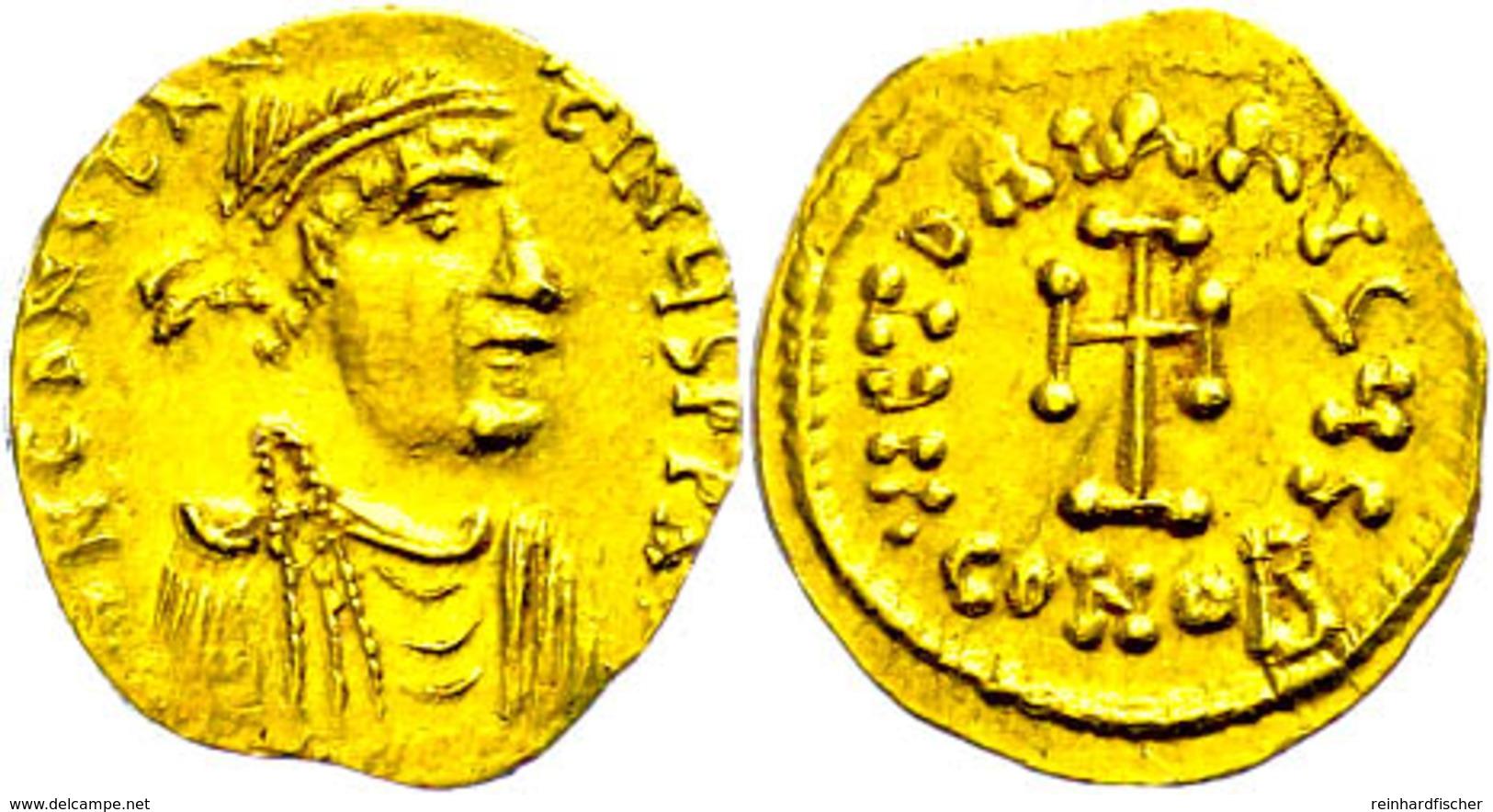 Constans II., 641-688, Tremissis (1,44g), Konstantinopel. Av: Büste Nach Rechts, Darum Umschrift. Rev: Kreuz, Darum Umsc - Byzantinische Münzen