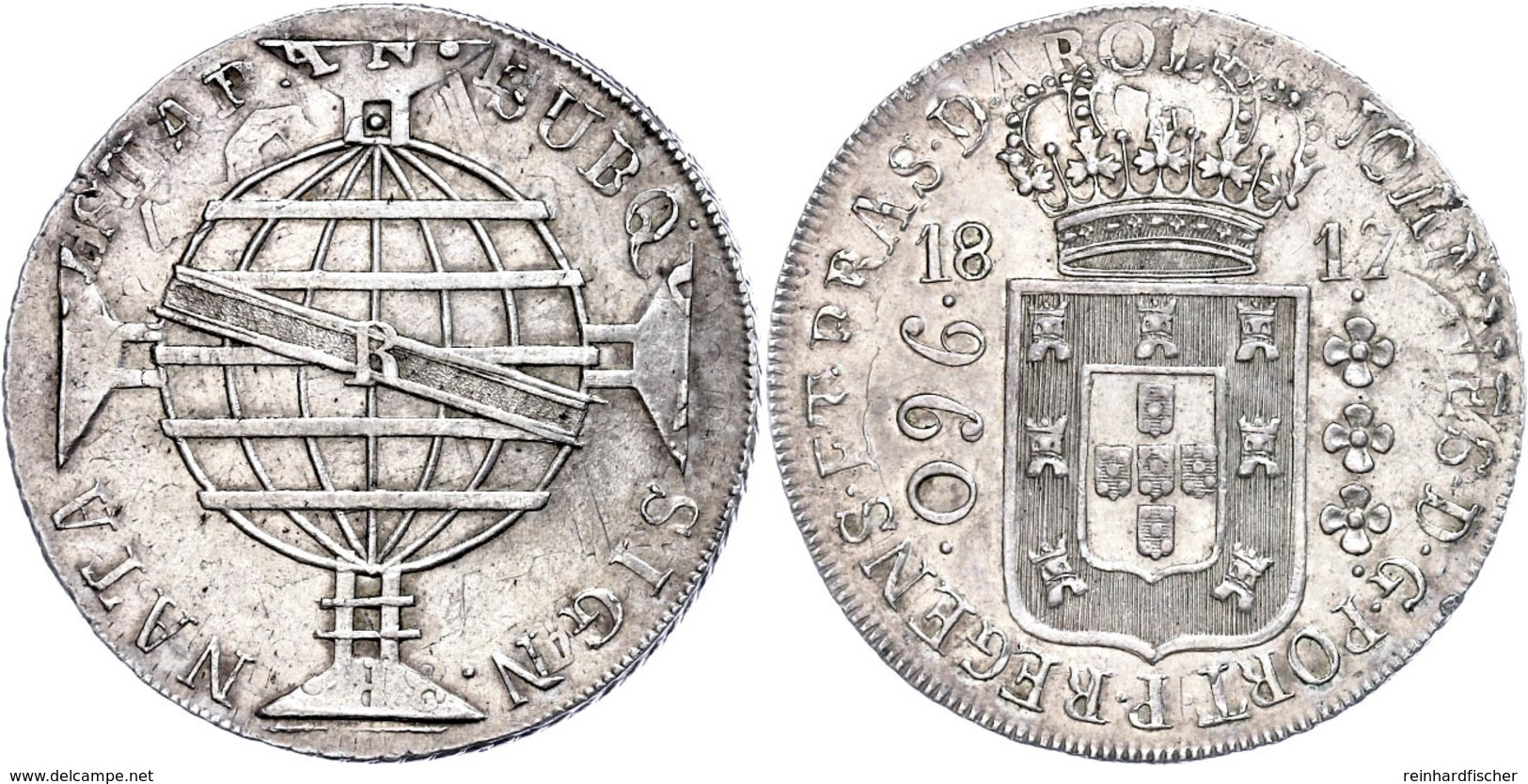 960 Reis, 1817, Überprägungsspuren, Kl. Rf., Vz.  Vz - Brasilien