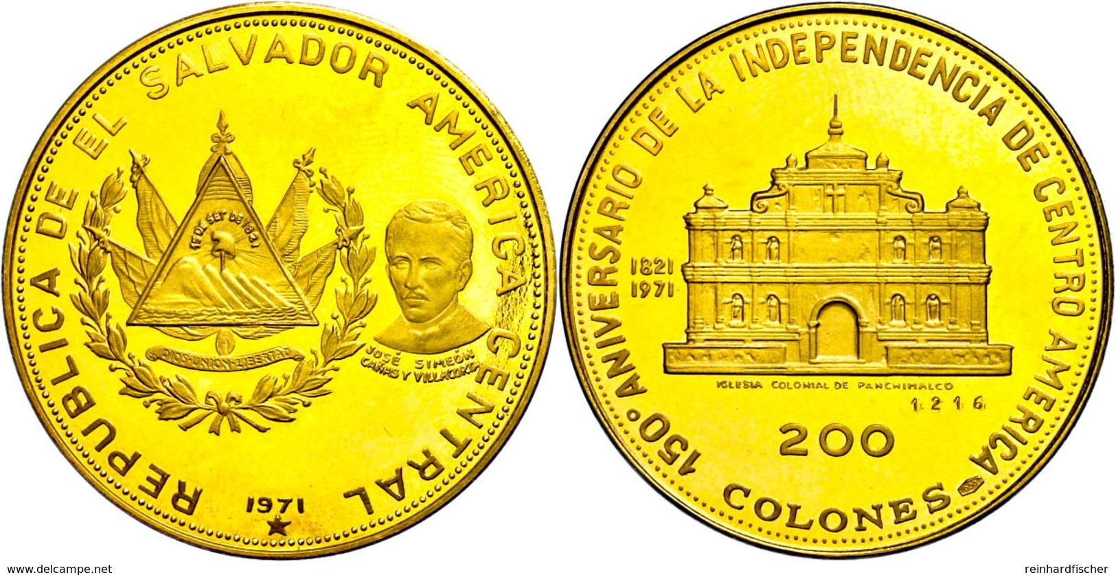 200 Colones, Gold, 1971, 150 Jahre Unabhängigkeit, Panchimalco Kirche, Fb. 6, Eingepunzte Nummer 1216, Fingerabdrücke, P - Sonstige – Amerika