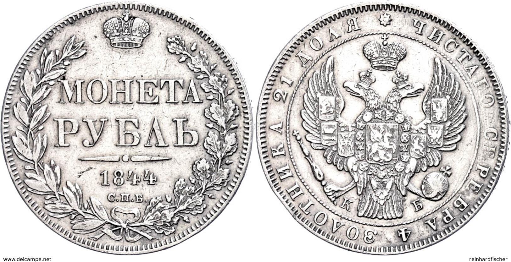 Rubel 1844, Nikolaus I. (1825-1855), St. Petersburg. Bitkin 205; Dav. 283., Kl. Rf, Vz.  Vz - Russland