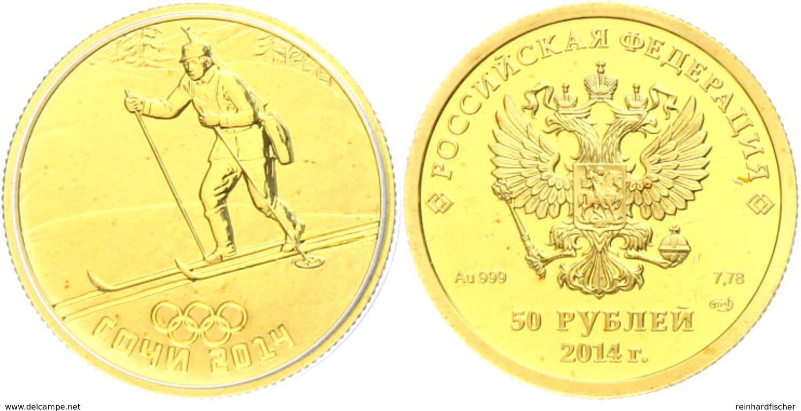 50 Rubel, 2014, Gold, Winterolympiade Sotschi - Biathlet, Mit Zertifikat In Ausgabeschatulle Und OVP, PP.  PP - Russland
