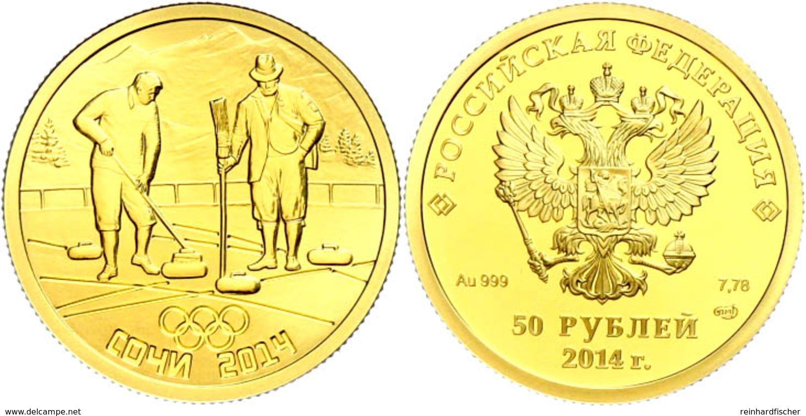 50 Rubel, 2014, Gold, Winterolympiade Sotschi - Curling, Mit Zertifikat In Ausgabeetui Und OVP, PP.  PP - Russland
