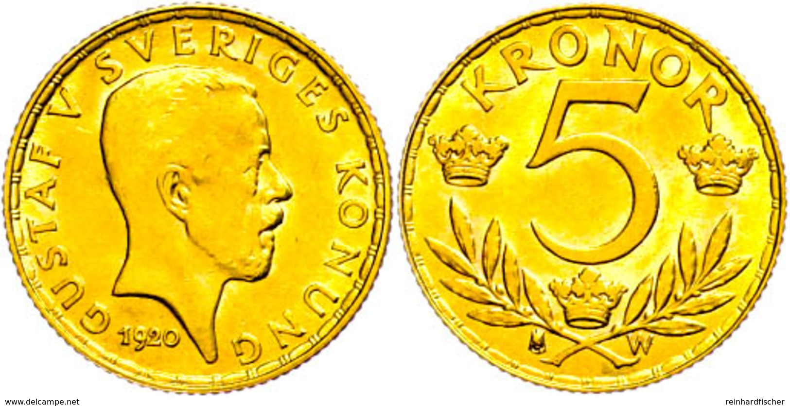 5 Kronen, Gold, 1920, Gustav V., Fb. 97, Vz-st.  Vz-st - Schweden