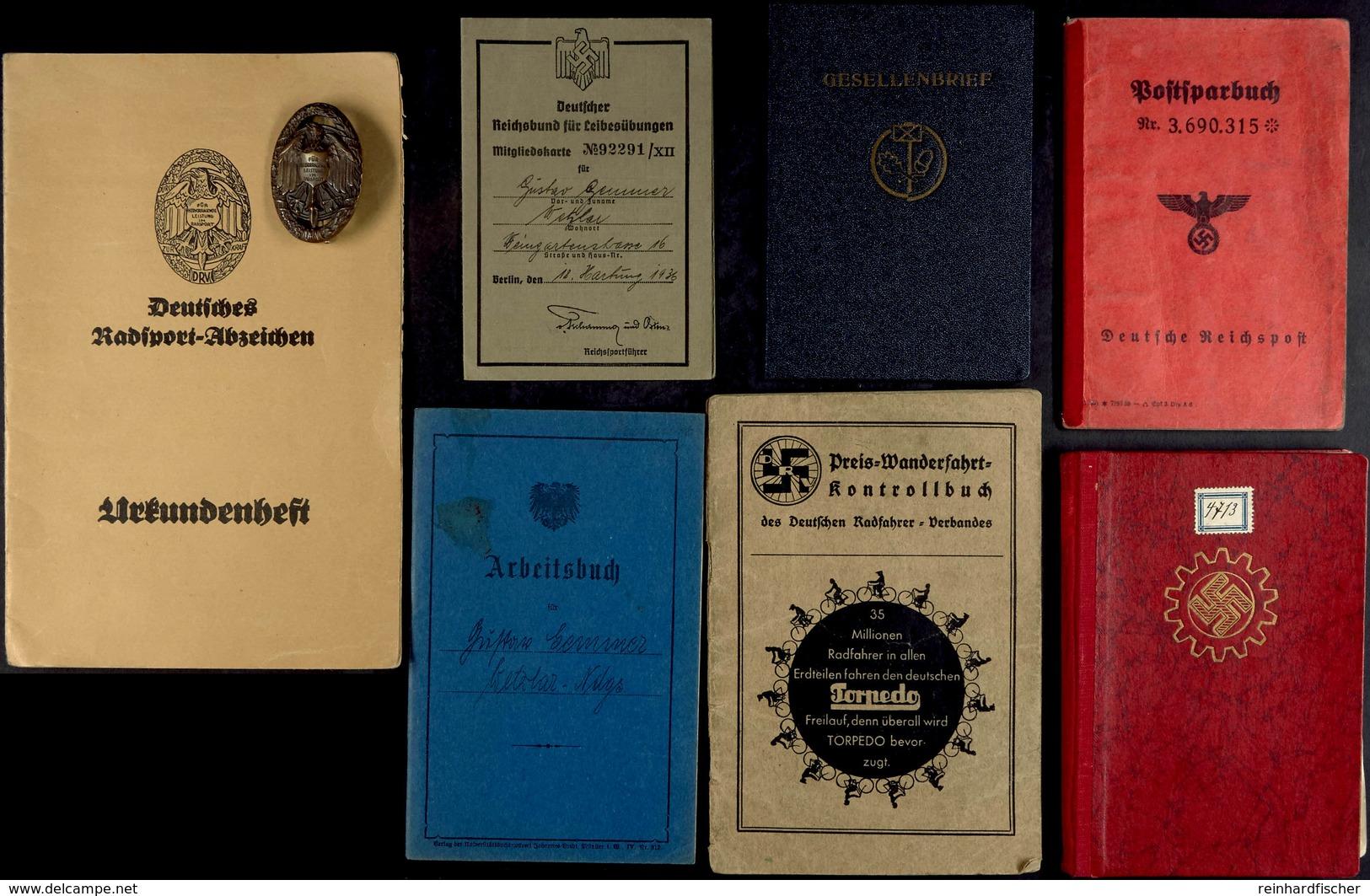 Nachlass Mit Deutsches Radsportabzeichen In Bronze Des VDRV (Vereinigung Deutscher Radsport-Verbände) Mit Herstellerpunz - Libri, Riviste & Cataloghi