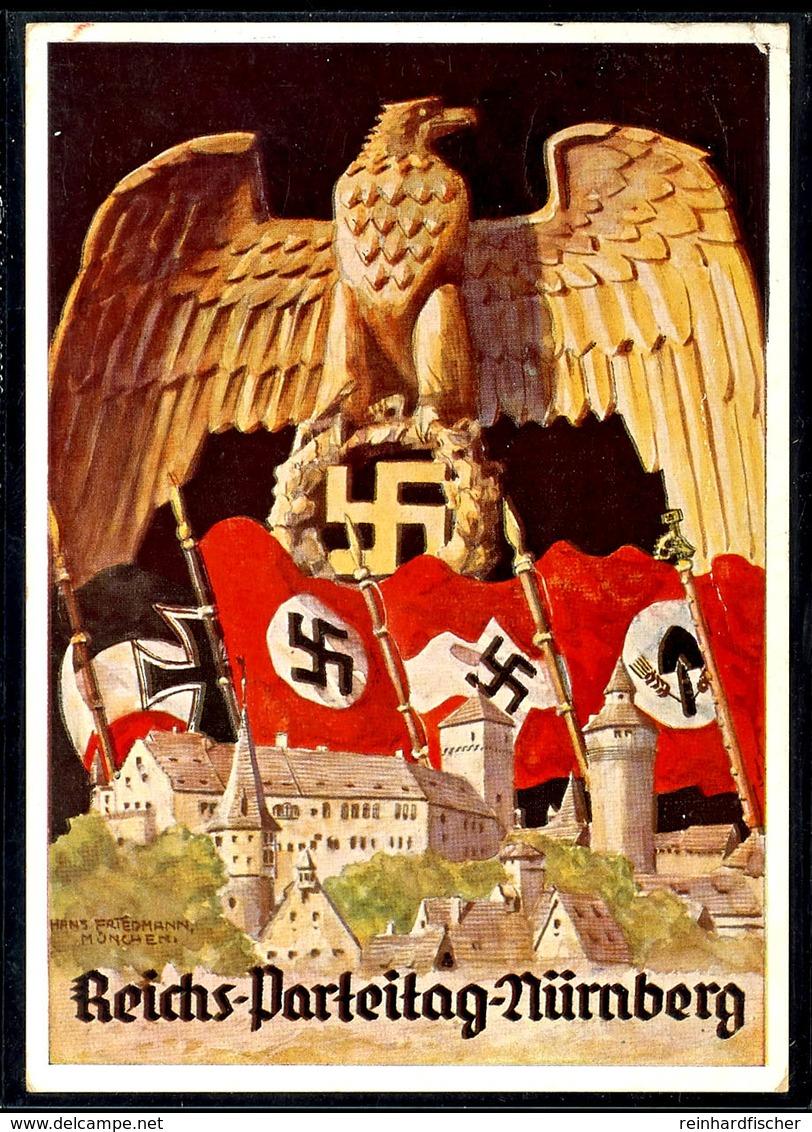 1936, Reichsparteitag Nürnberg Mit Ansicht Hoheitsadler U. Div. Fahnen, Color, Echt Gelaufene Color-Karte Mit Entspr. Ta - Deutschland