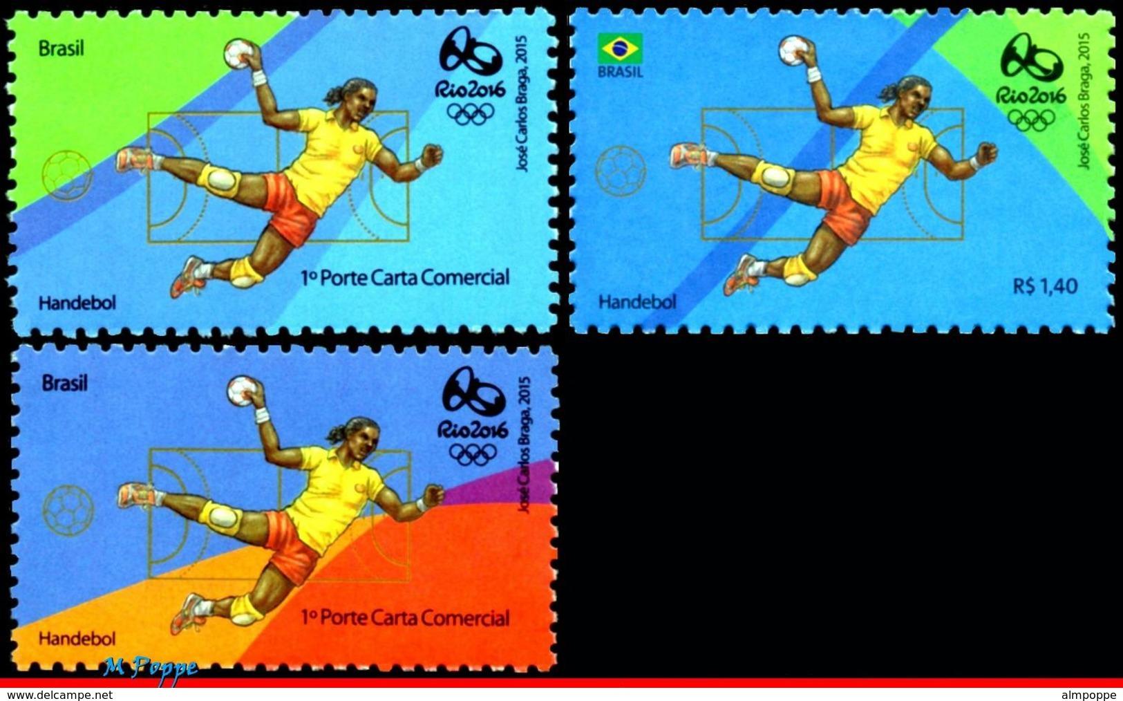 Ref. BR-OLYM-E20 BRAZIL 2015 SPORTS, OLYMPIC GAMES, RIO 2016,, HANDBALL, STAMPS OF 2ND & 4TH SHEET, MNH 3V - Balonmano