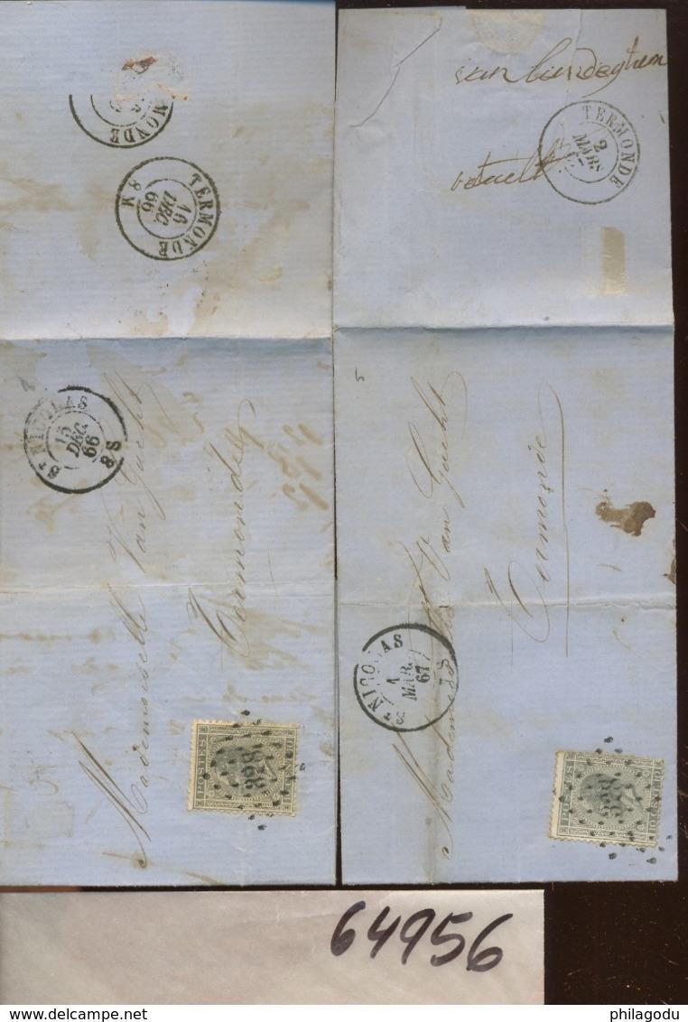 Deux Lettres Avec Le 10c. N°17 - 1865-1866 Profile Left