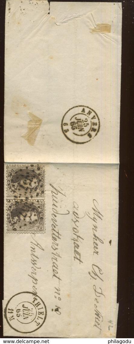 14 En Paire Sur Lettre.  THIELT 25 Juin 1865 - 1863-1864 Medallions (13/16)