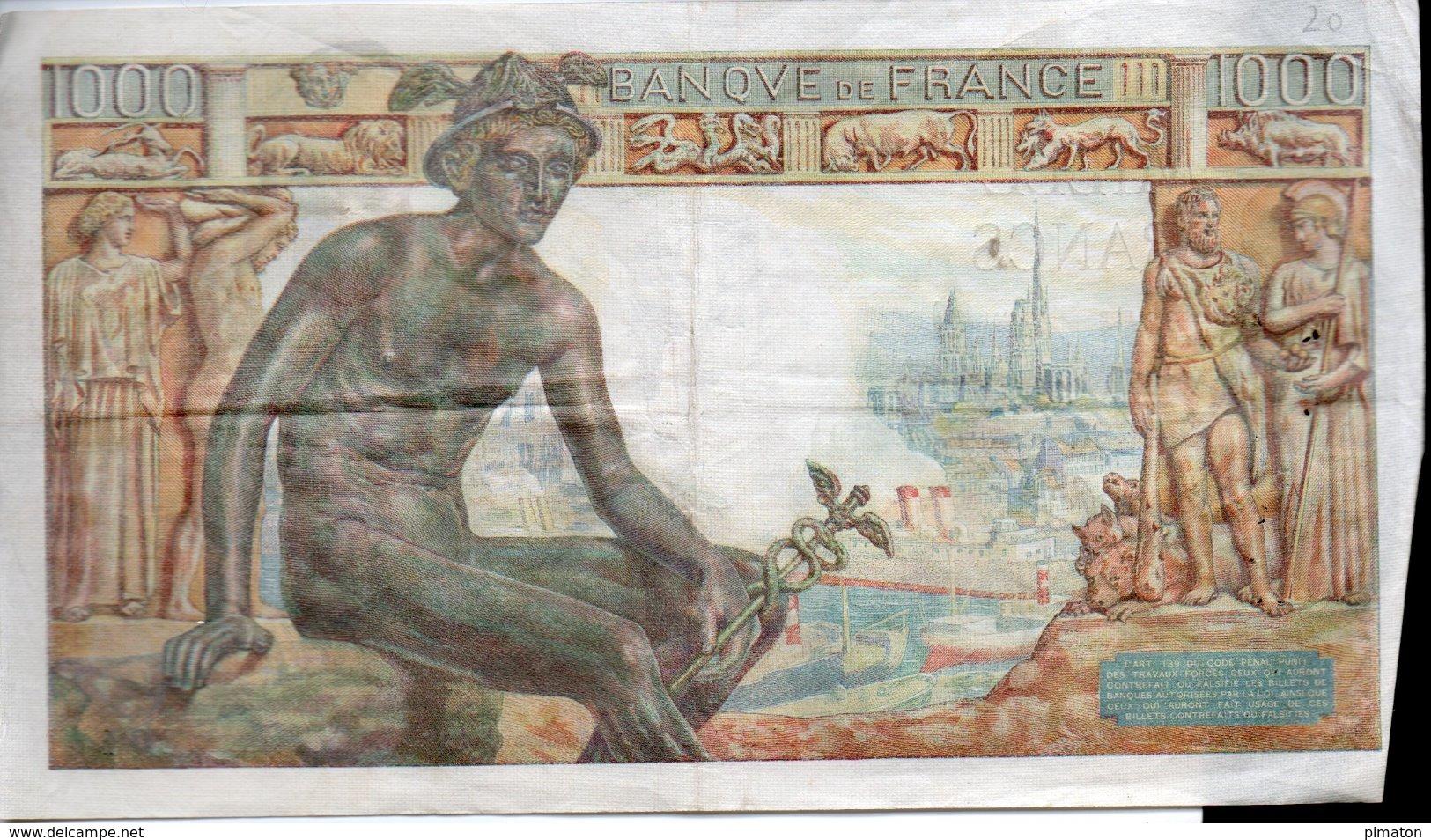 1000 FRANCS  11 - 2 - 1943 - 1871-1952 Frühe Francs Des 20. Jh.