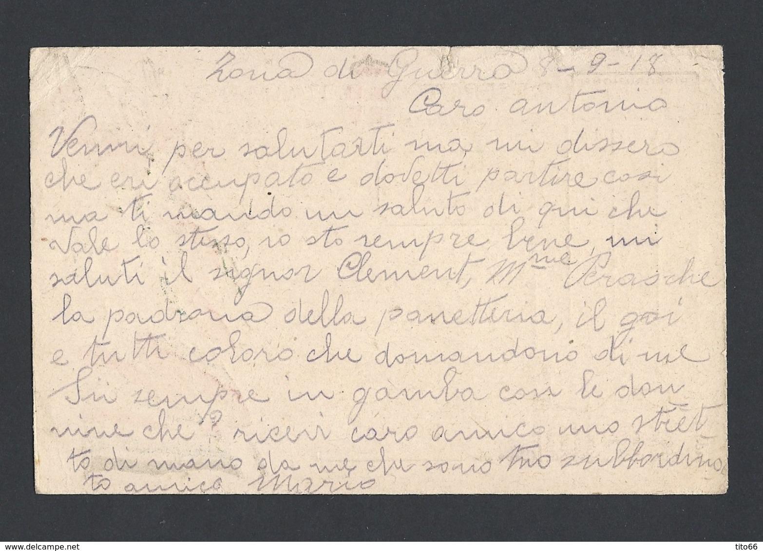 Guerre 14-18 Carte Militaire Italienne Avec Correspondance Du 10/9/1918  Vers Hyeres Cachet De Censure - WW I