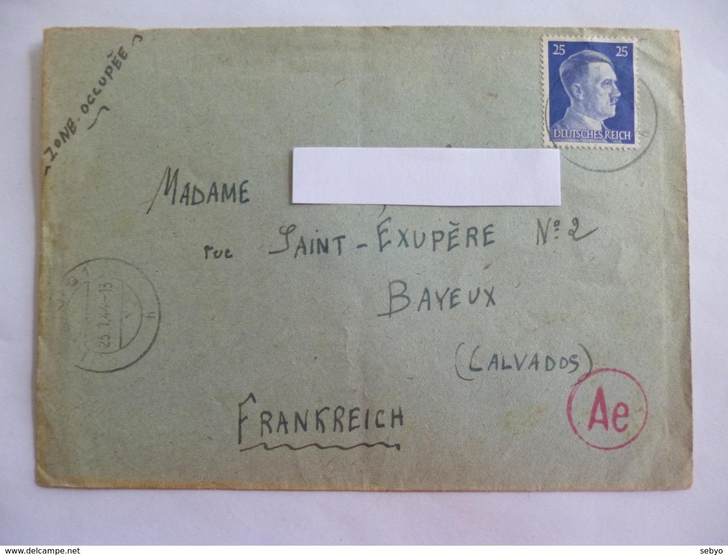 Enveloppe. Correspandance Pour La France. 1944.   Deutsches Reich. - 1939-45