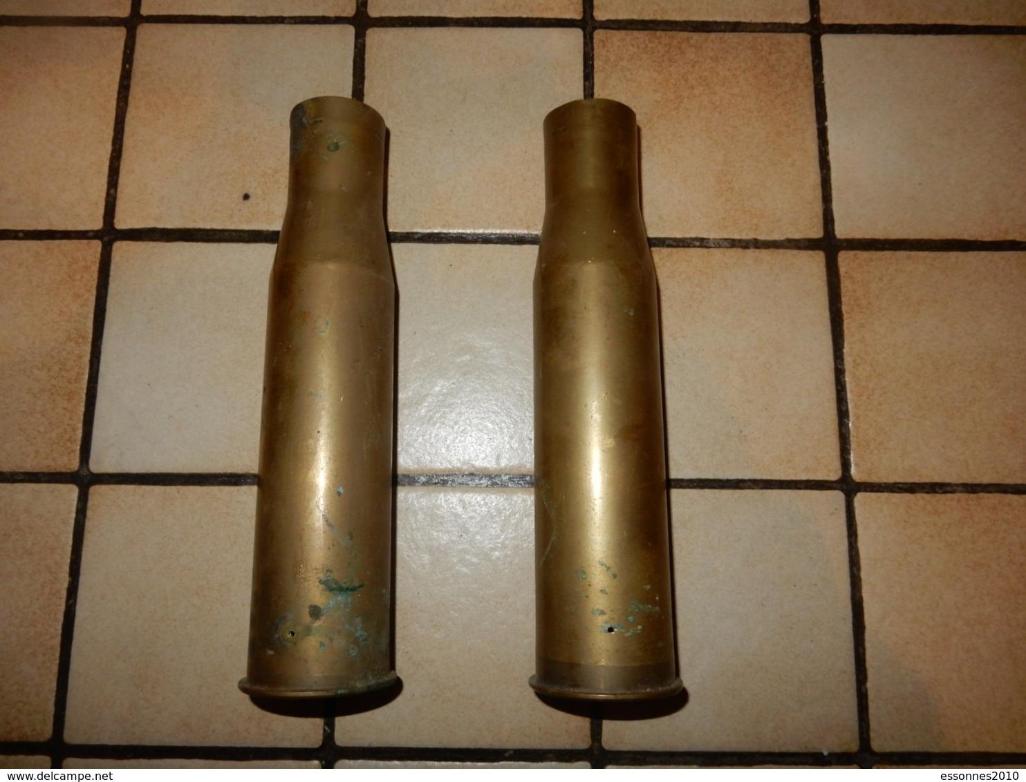 Lot De Deux Douilles D Obus De 37mm Us 1942 - 1939-45