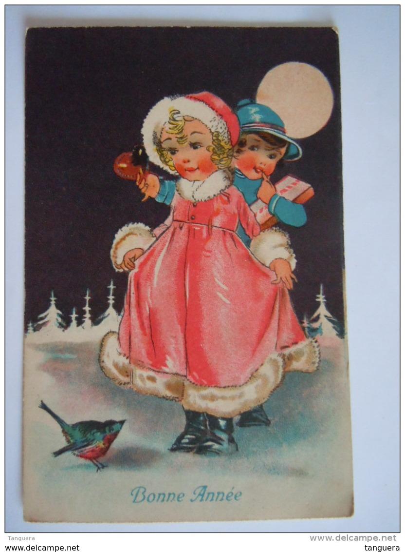 Bonne Année Enfants Lune Kinderen Maan  Circulée Gelopen 1933 Ensival A Import 3739 - Neujahr