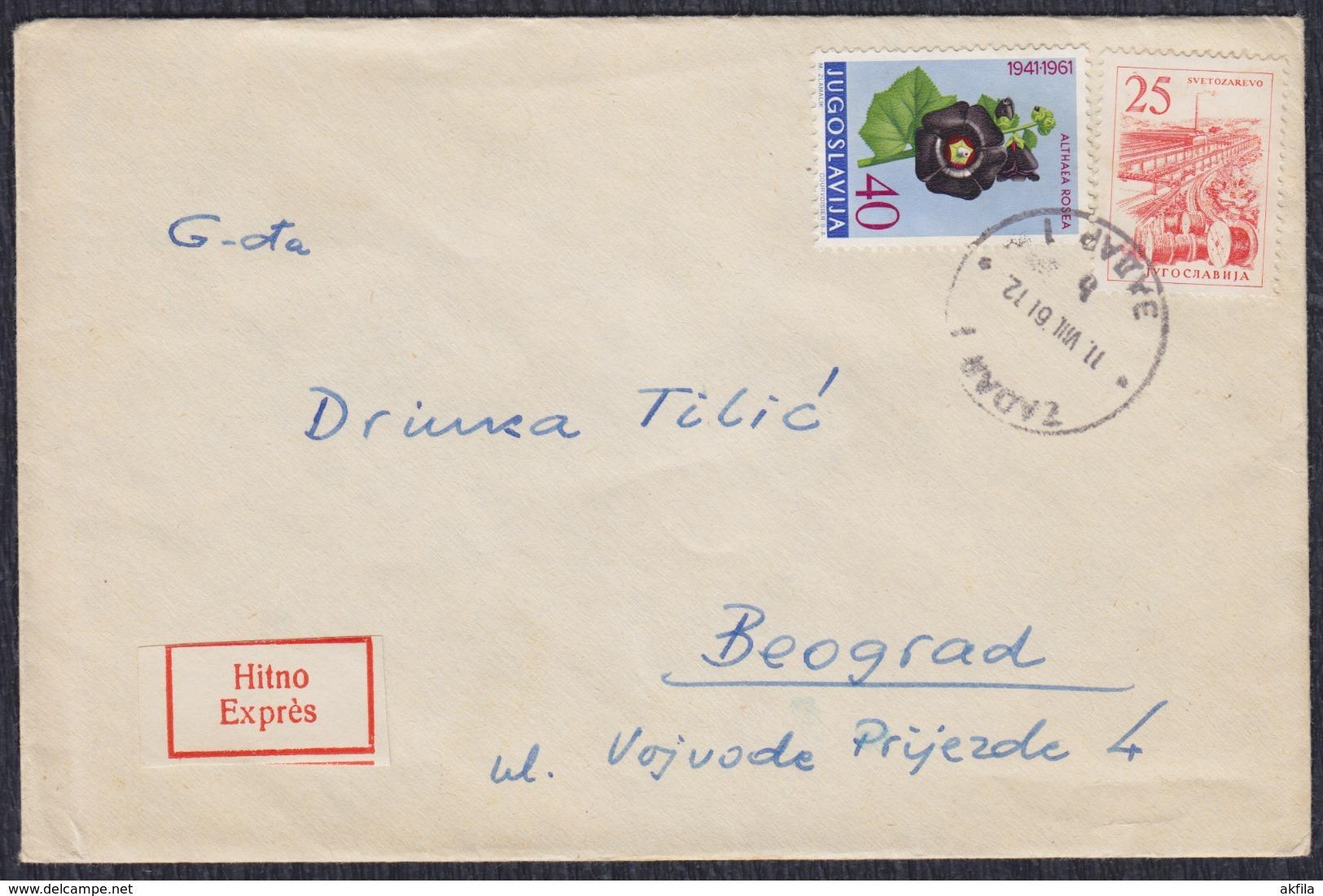 Yugoslavia 1961 Express Letter Sent From Zadar To Beograd - Briefe U. Dokumente