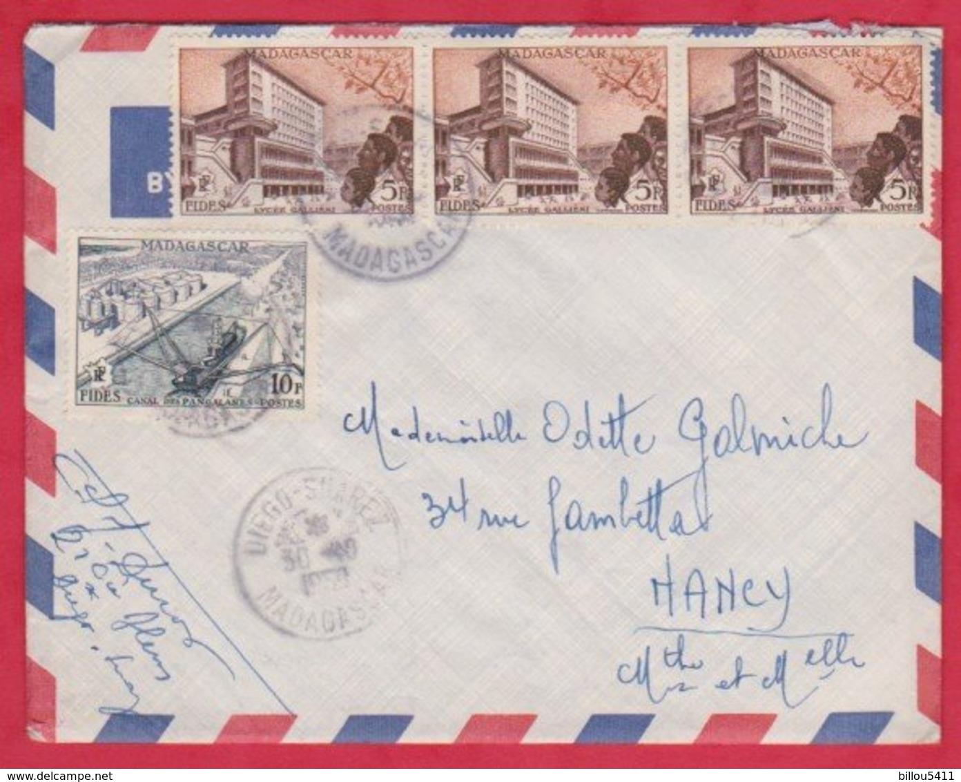 Republique Malgache Cachet ; Obitération 1959 Diégo Suarez.Sur Lettre N° 328 ; 329  Pour Nancy - Madagascar (1889-1960)