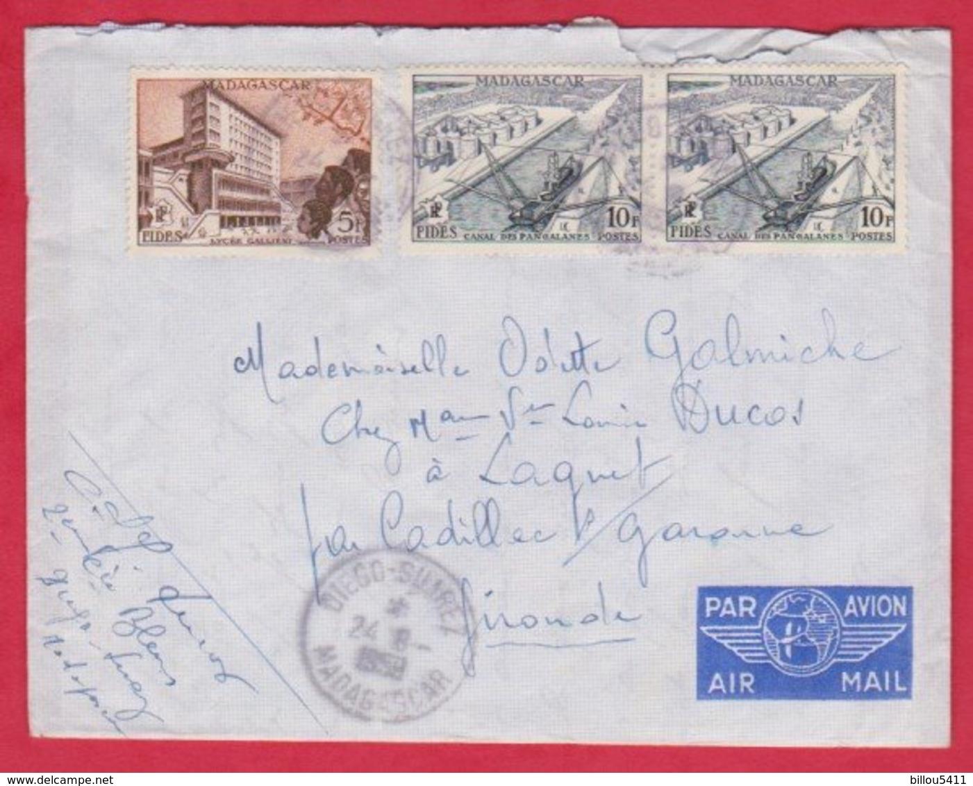 Republique Malgache Cachet ; Obitération 1959 Diégo Suarez.Sur Lettre N° 328 ; 329  Pour Lagnet Par Cadillec / Garonne - Madagascar (1889-1960)