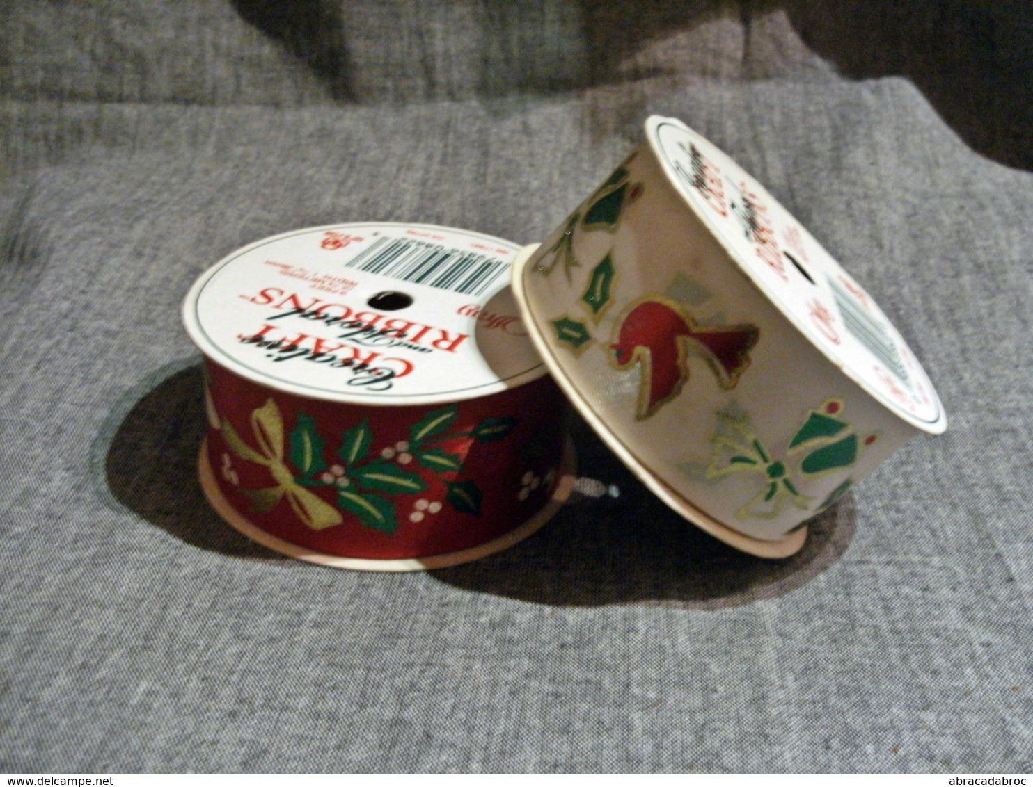 2 Rouleaux Ruban Tissus Imprimés Noel / Neufs Sans Emballages - Kerstversiering
