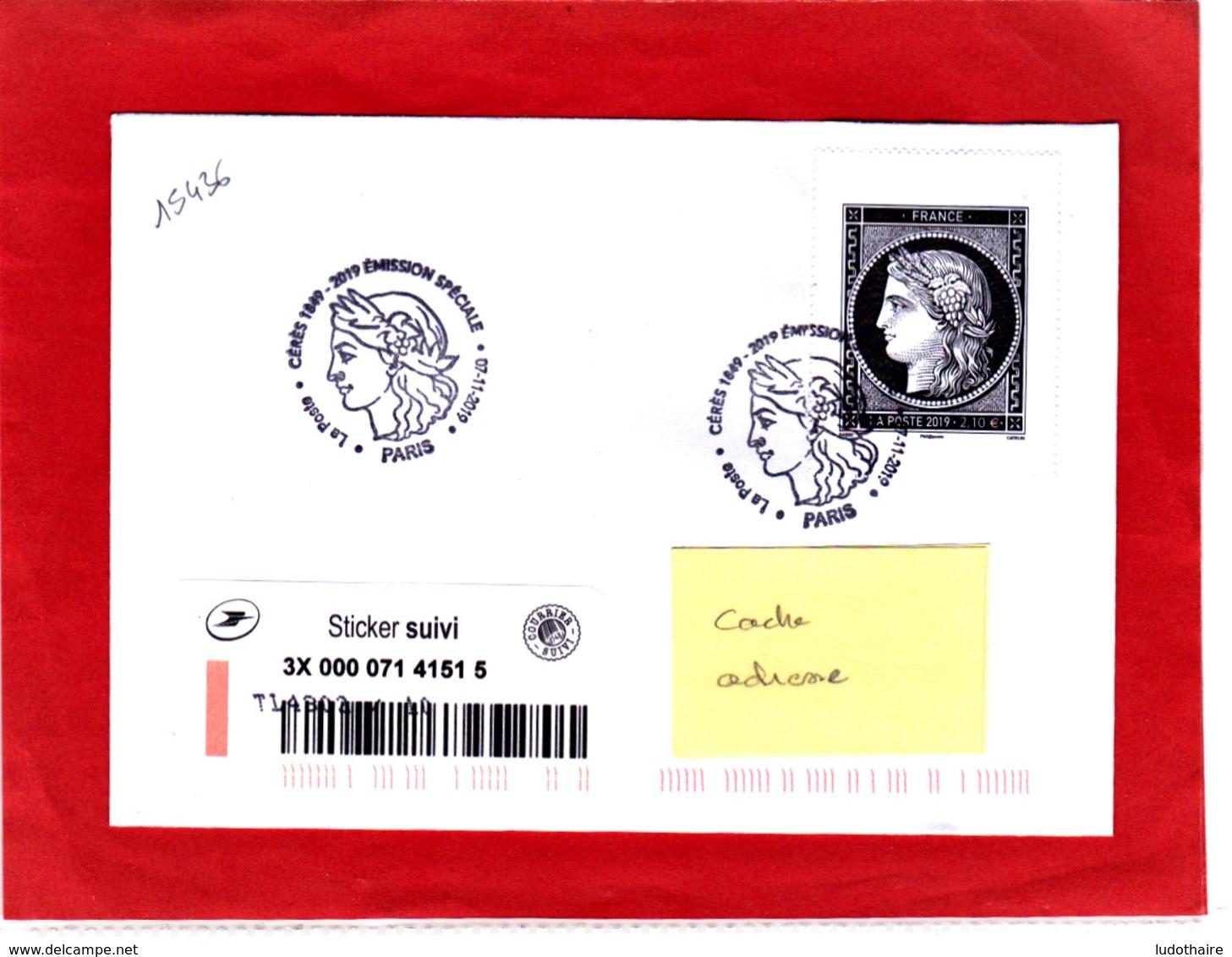 Céres 2.10 € Noire + Sticker Suivi, Sur Lettre Voyagée, Obl 1er 07/11/19, Provenant Du Carnet Céres/Marianne L'engagée - France