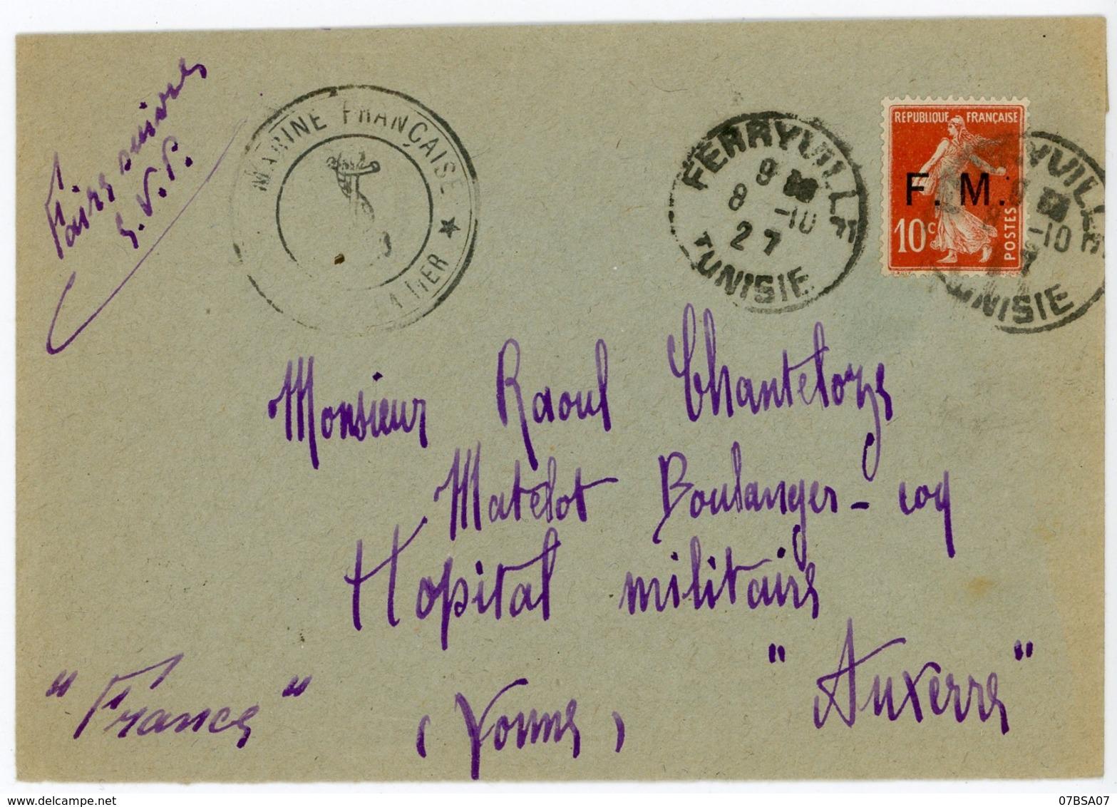 TUNISIE ENV 1927 FERRYVILLE FM AVEC N° FRANCE FM 5 MARINE FRANCAISE SERVICE A LA MER - Lettres & Documents