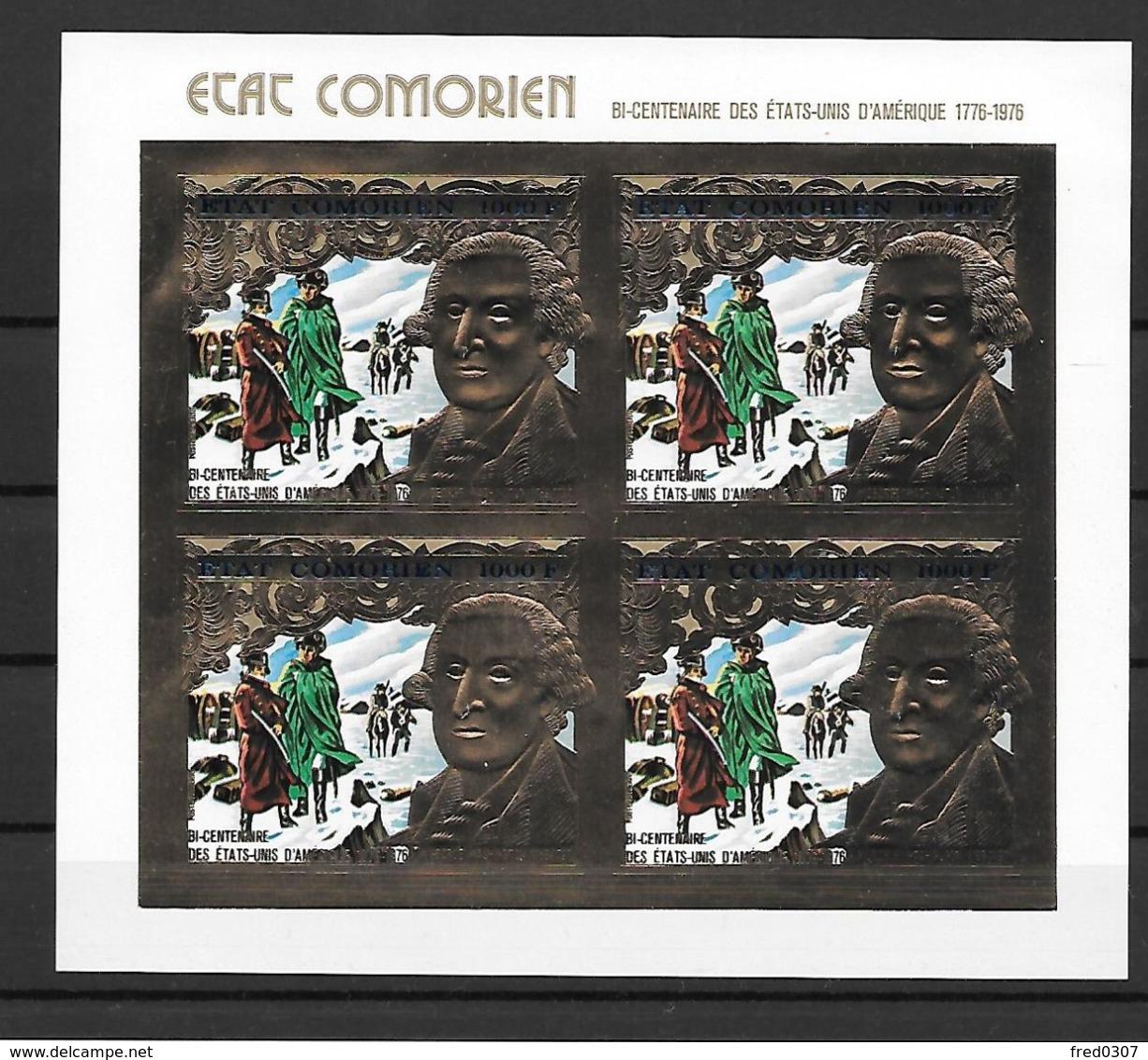Comores Timbre Or Gold Feuillet De 4 Non Dentelé/imperf/ND ** - Unabhängigkeit USA